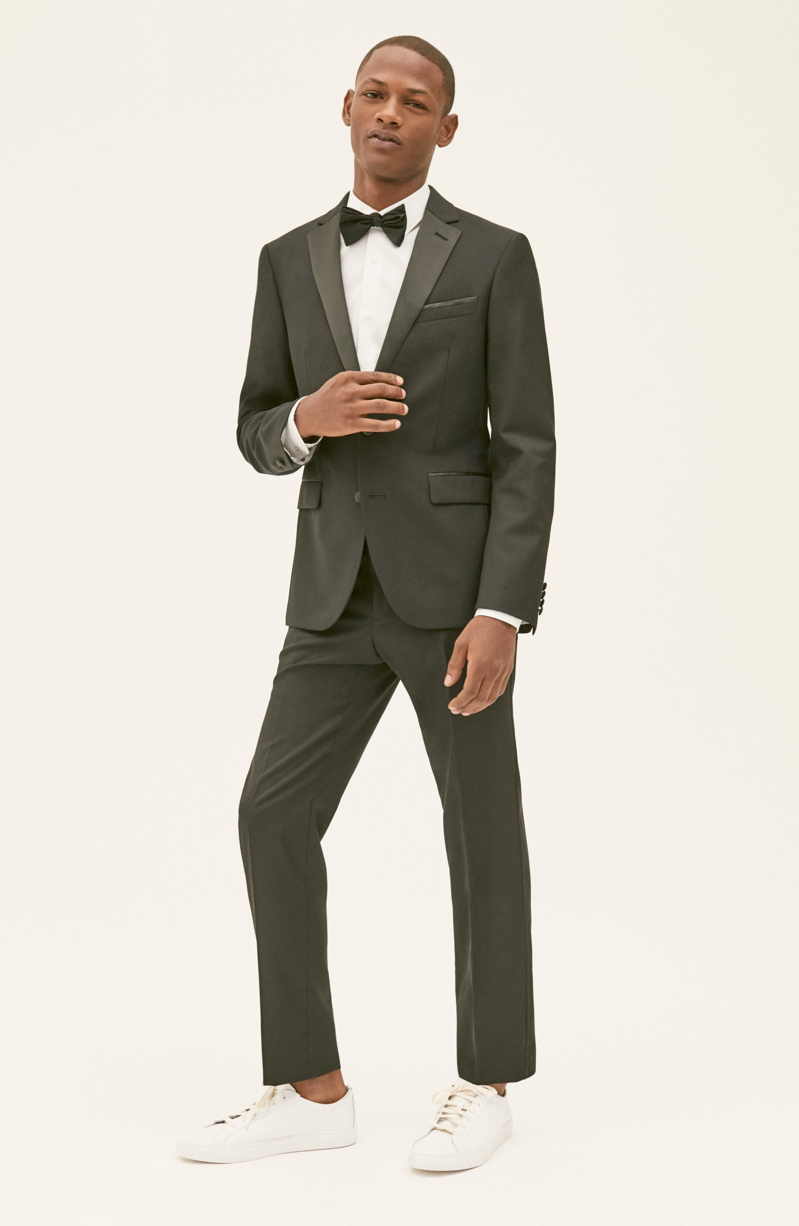 Trim Fit Wool Blend Tuxedo,                             Alternate thumbnail 9, color,                             BLACK