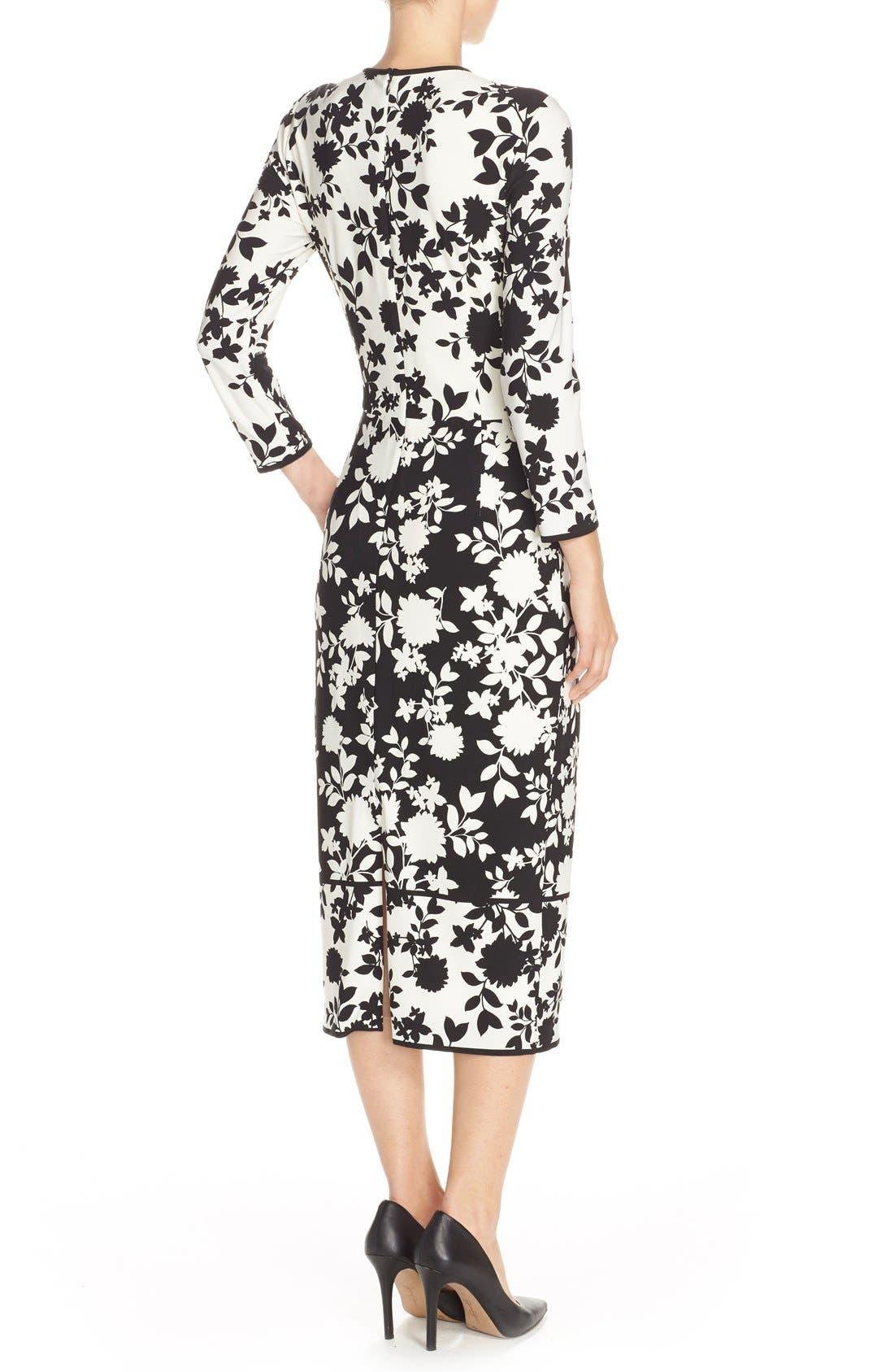 Floral Print Jersey Midi Dress,                             Alternate thumbnail 2, color,                             005