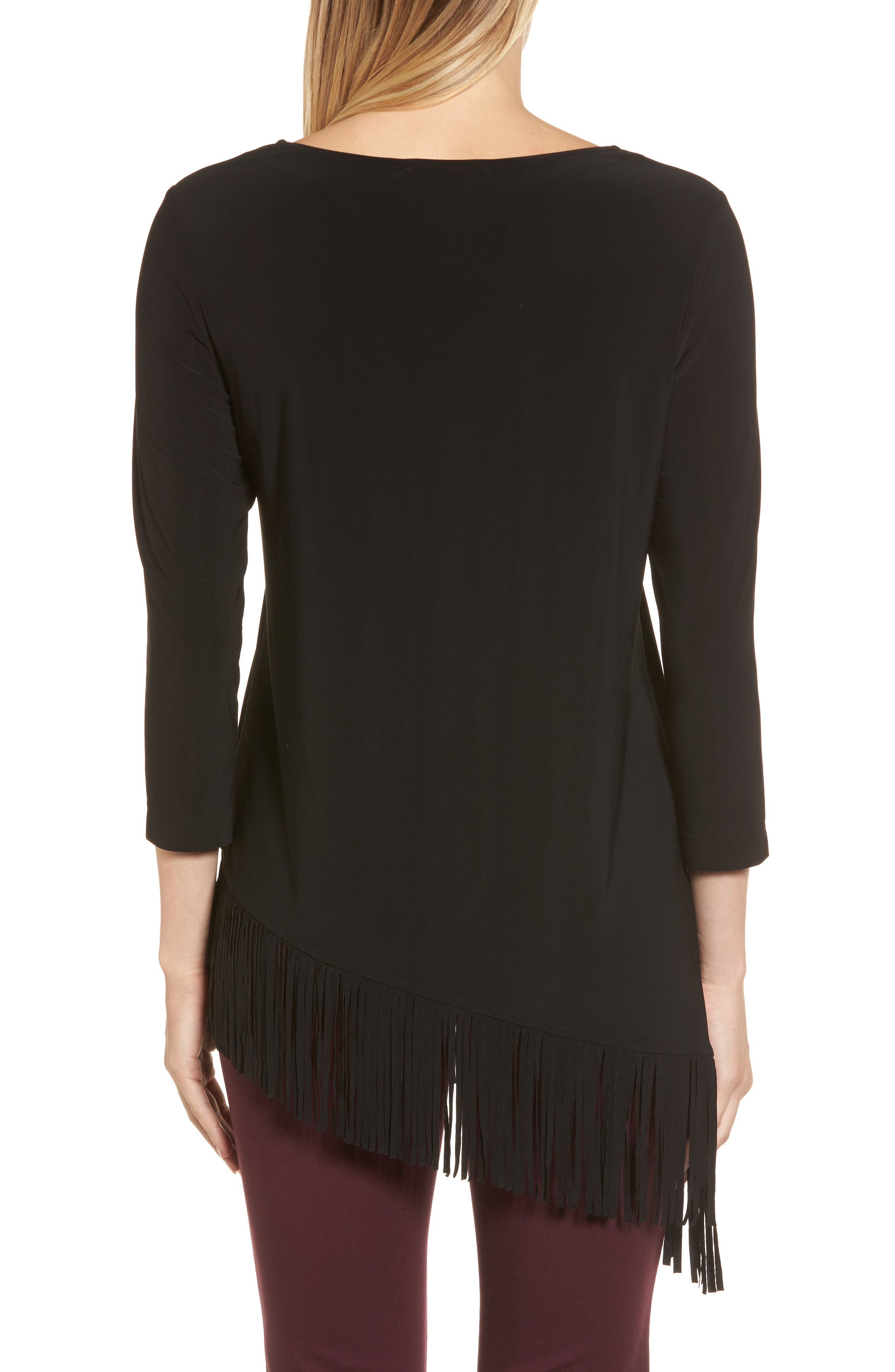 Asymmetrical Fringe Hem Top,                             Alternate thumbnail 2, color,                             010