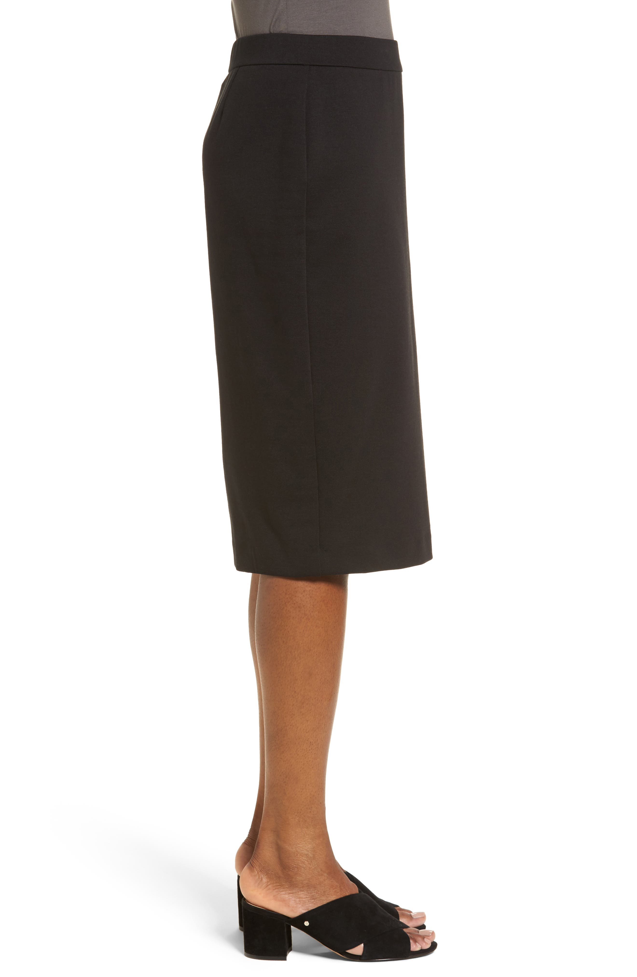 Tencel<sup>®</sup> Blend Pencil Skirt,                             Alternate thumbnail 3, color,                             001