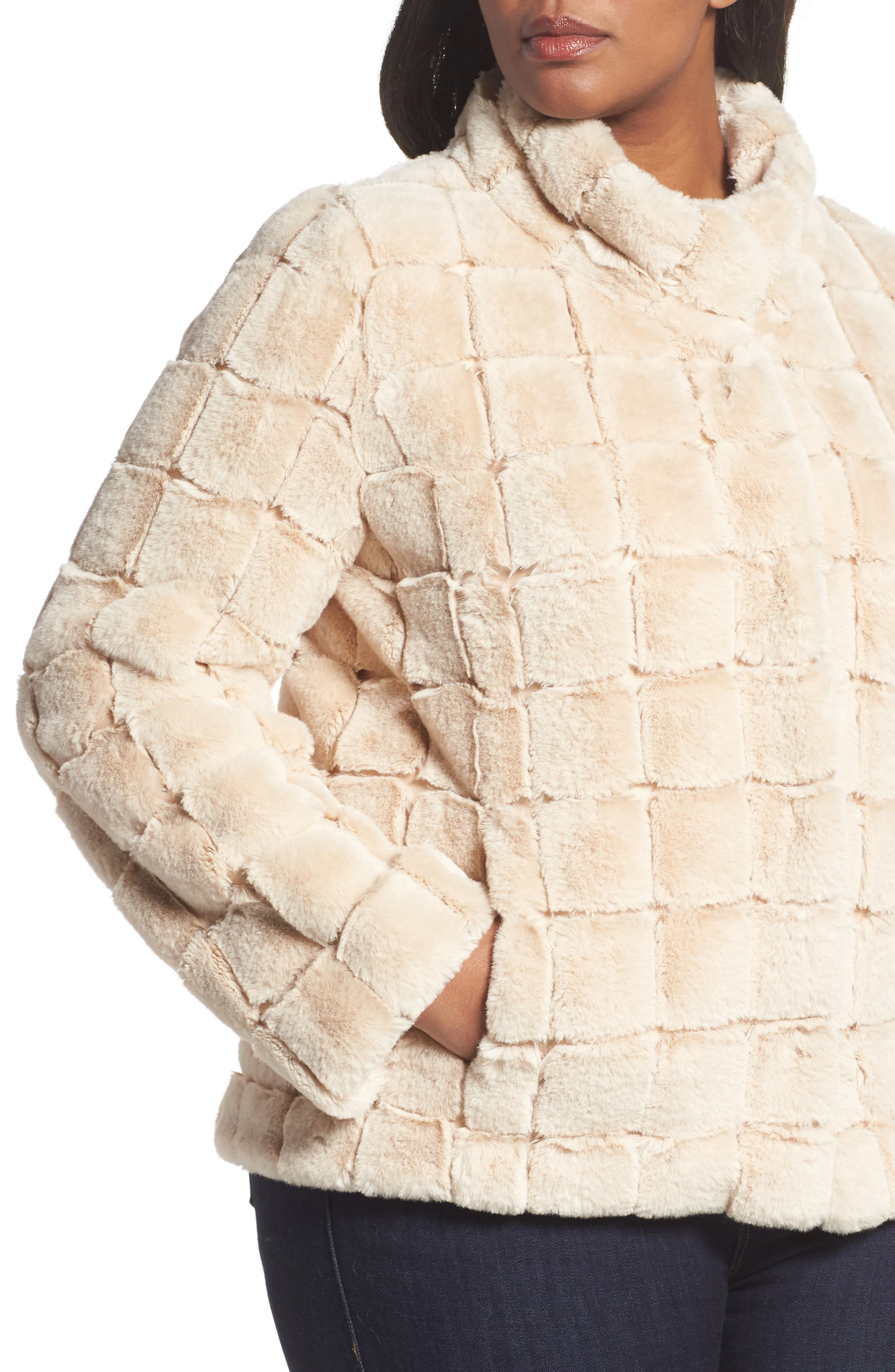 Faux Fur Jacket,                             Alternate thumbnail 4, color,                             BLUSH