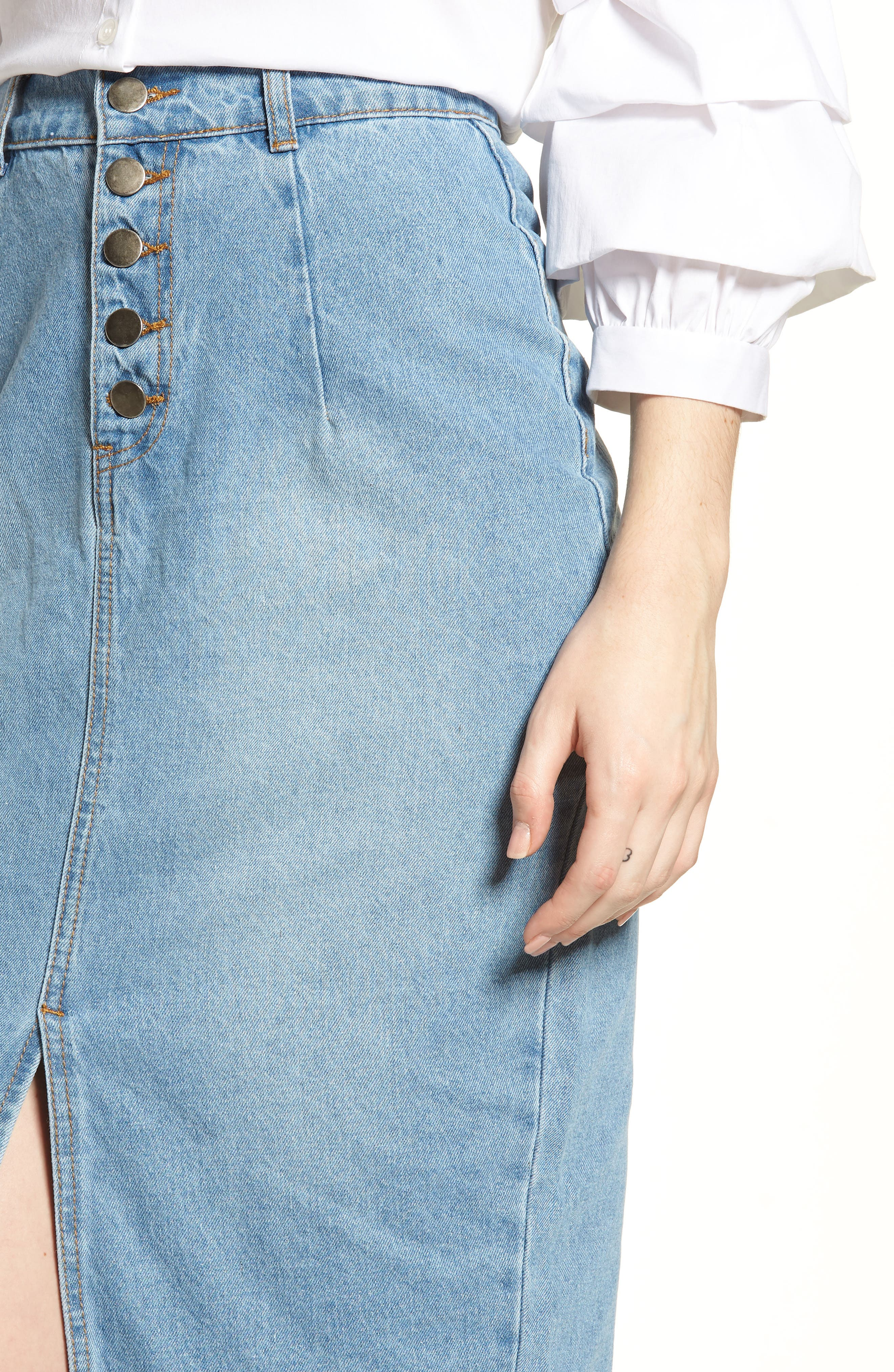 LOST INK,                             Essential Button Front Denim SKirt,                             Alternate thumbnail 4, color,                             400