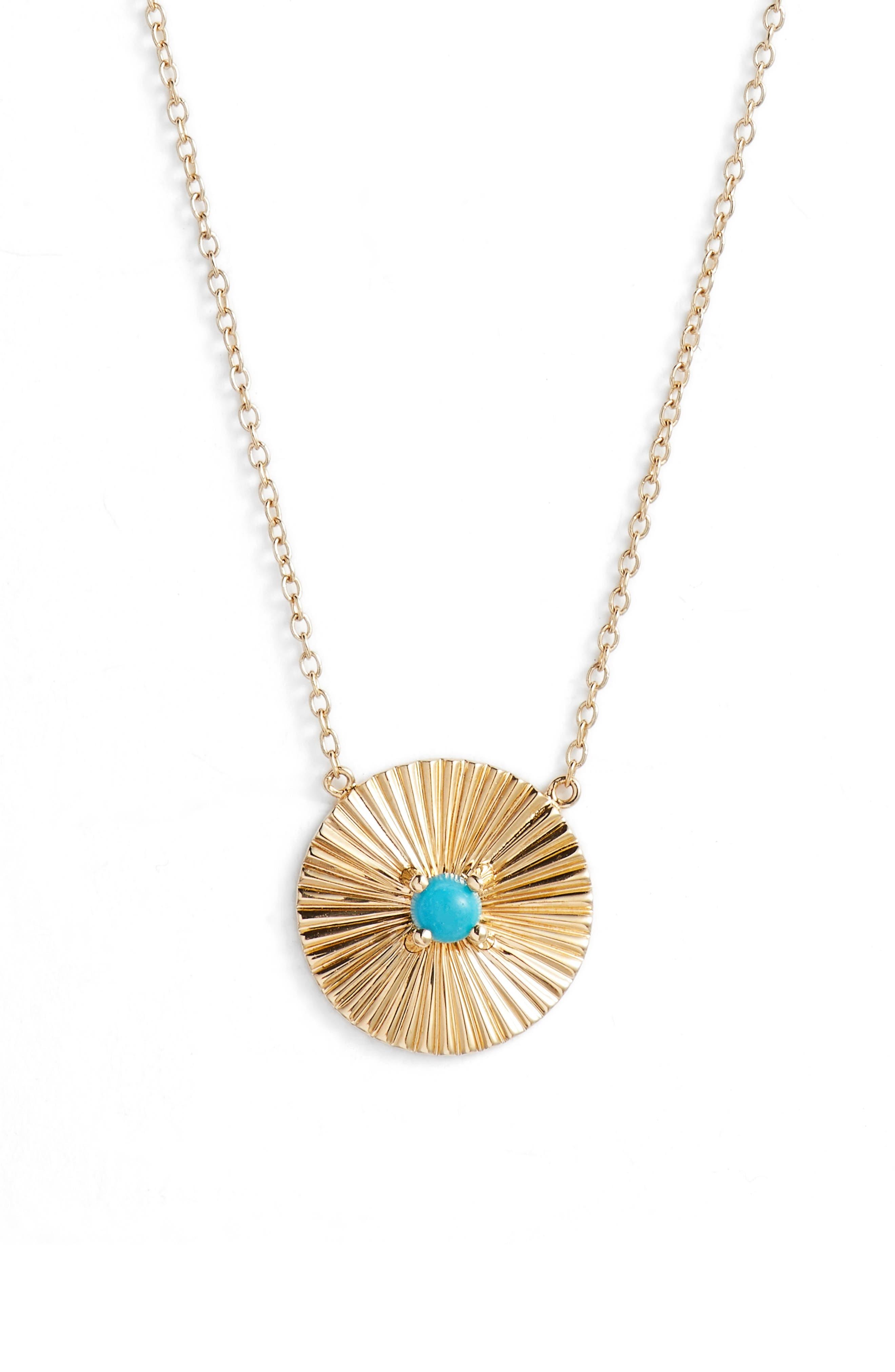 Iris Carson Turquoise Pendant Necklace,                             Main thumbnail 1, color,                             YELLOW VERMEIL