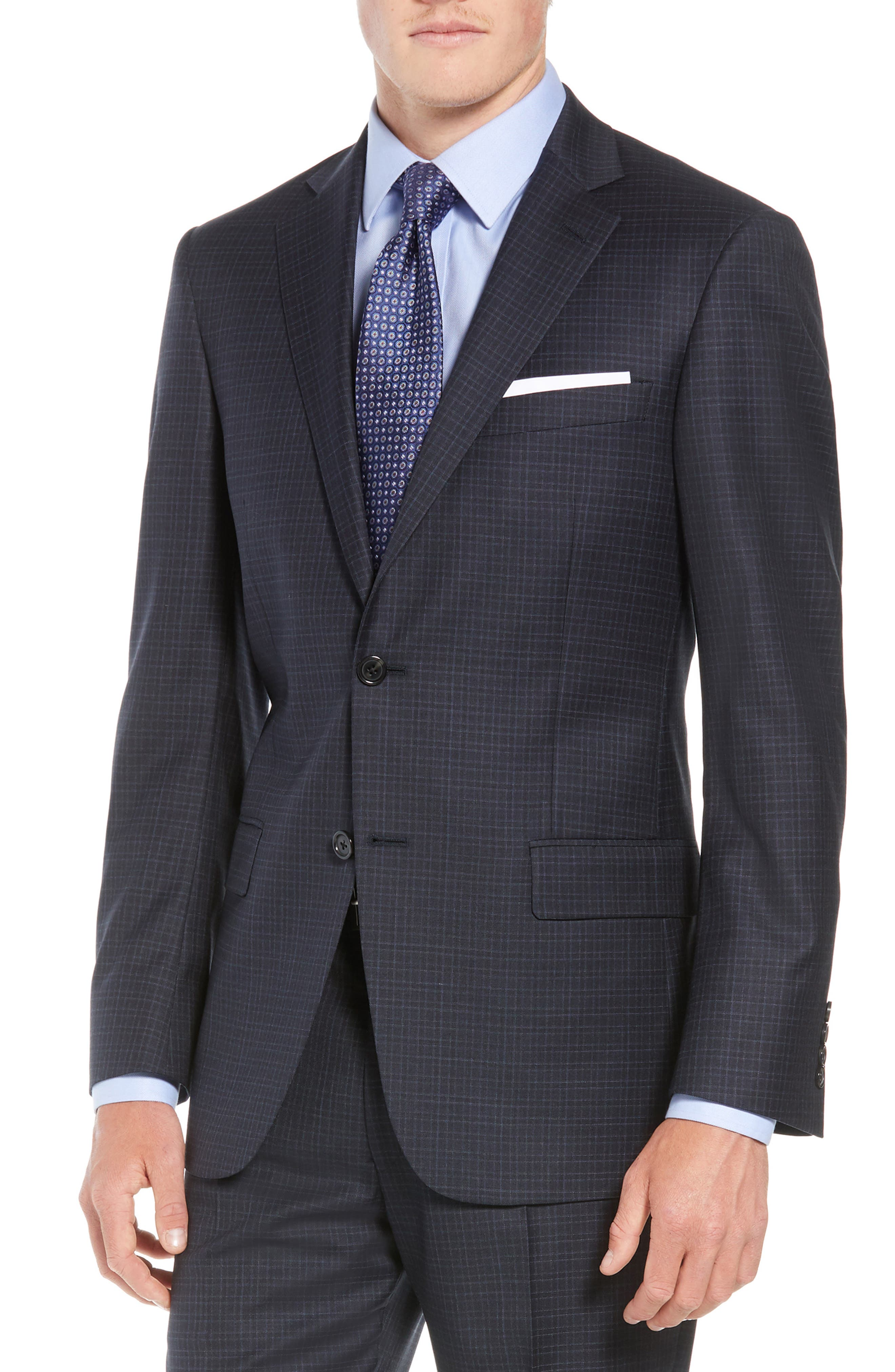 New York Classic Fit Check Wool Suit,                             Alternate thumbnail 5, color,                             NAVY