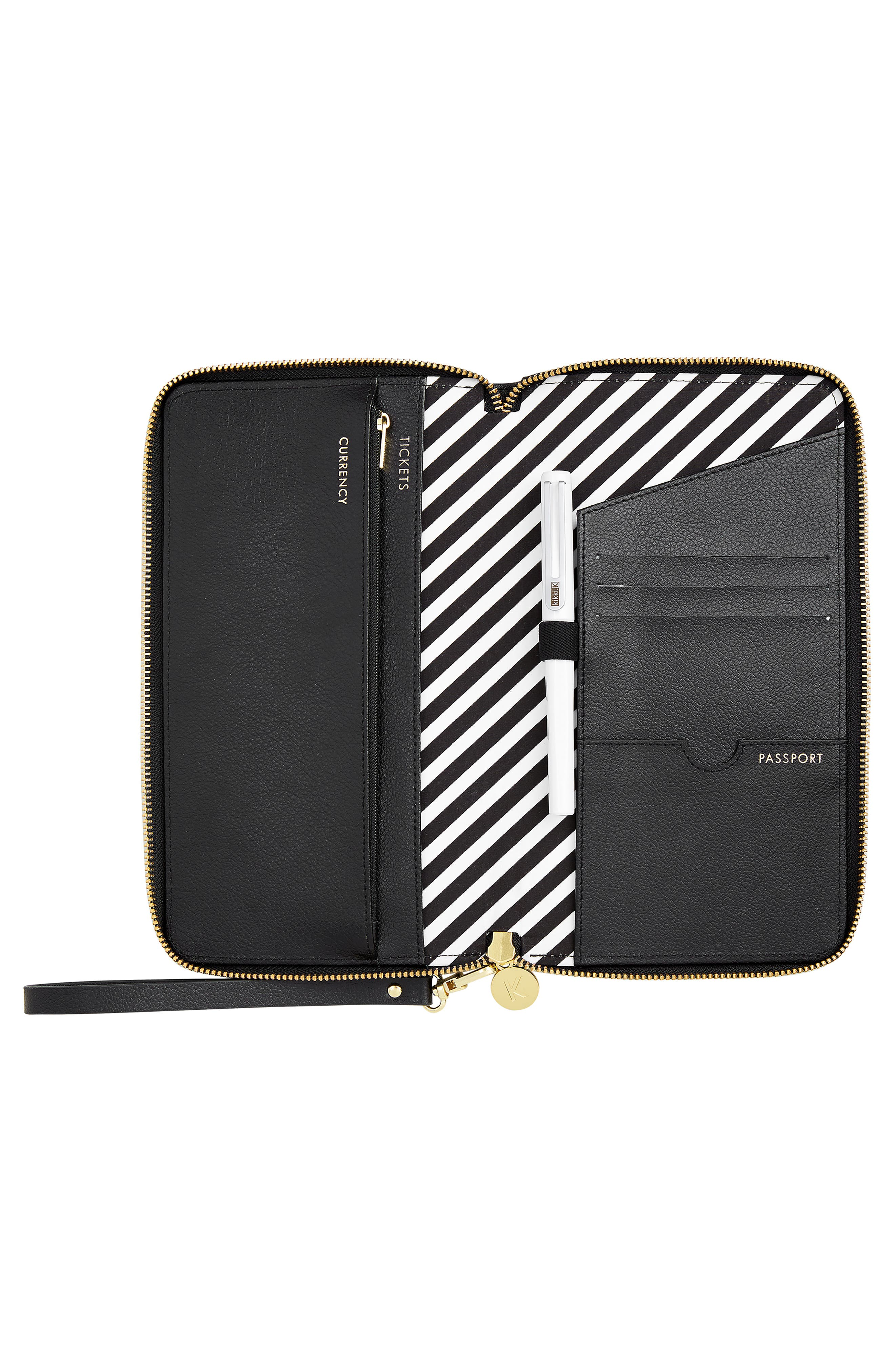 Leather Zip-Around Travel Wallet,                             Alternate thumbnail 3, color,                             JET BLACK