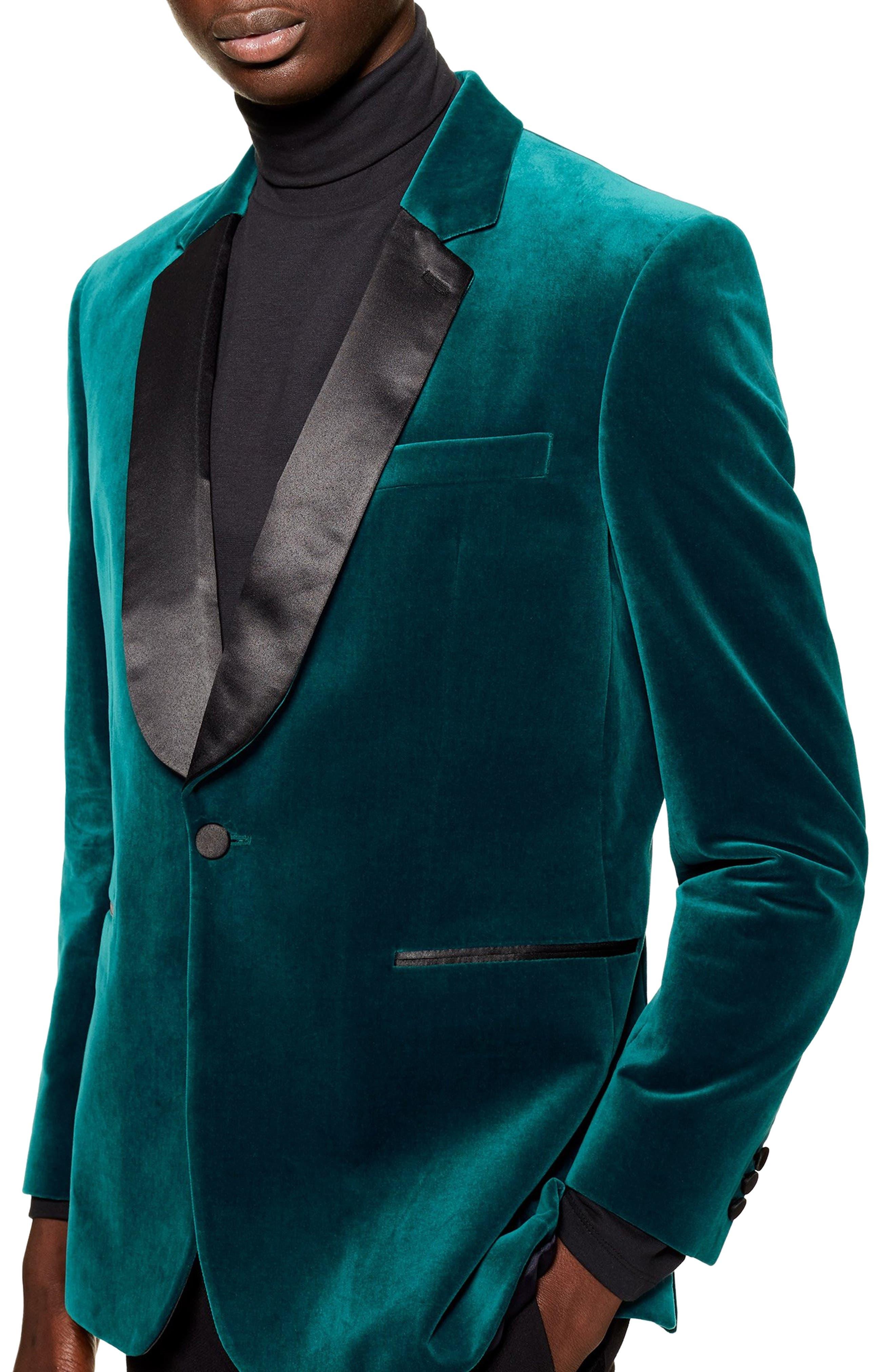 TOPMAN Casely Hayford Skinny Fit Velvet Blazer, Main, color, BLUE MULTI