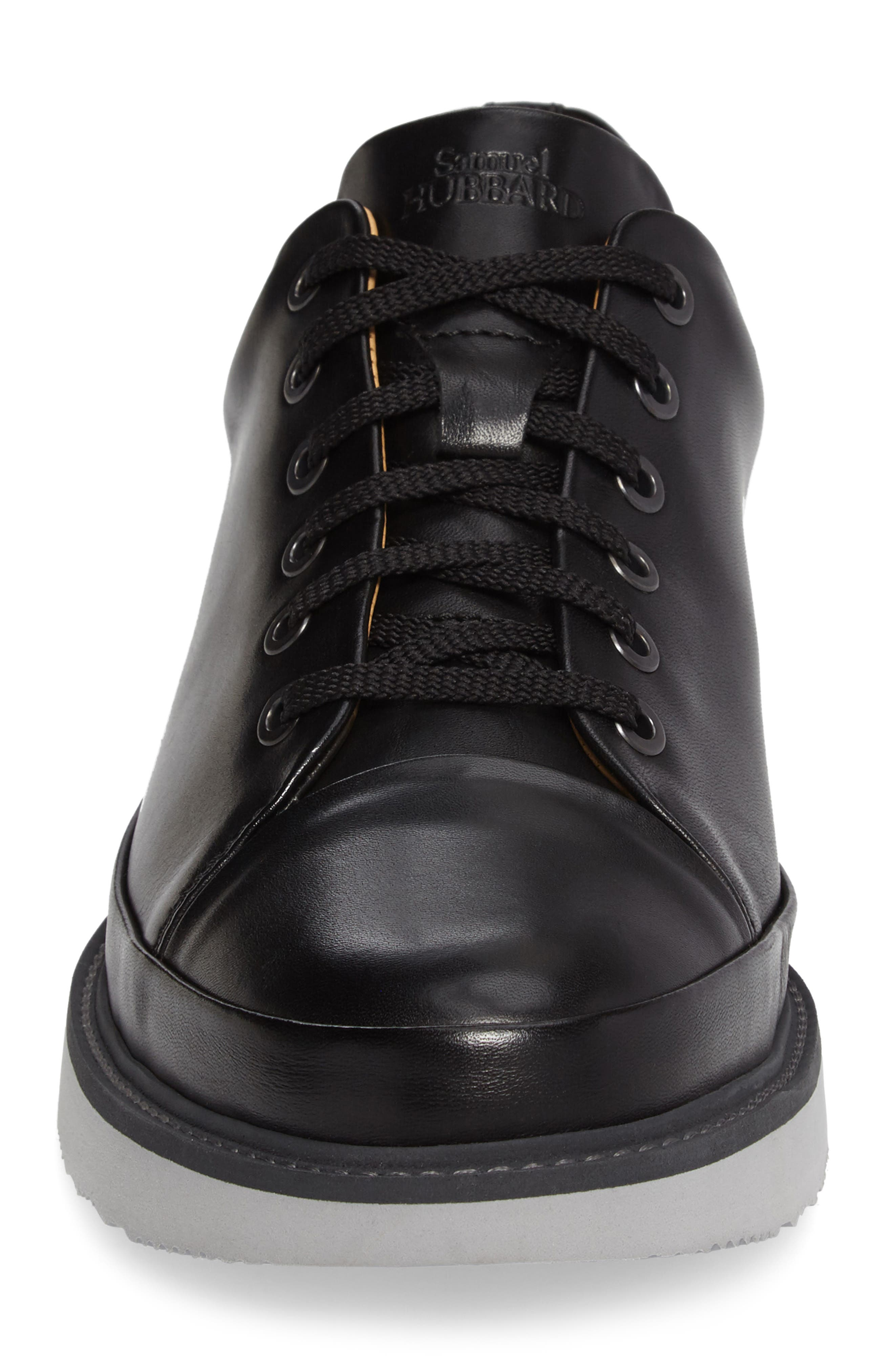 Sneaker,                             Alternate thumbnail 4, color,                             BLACK LEATHER