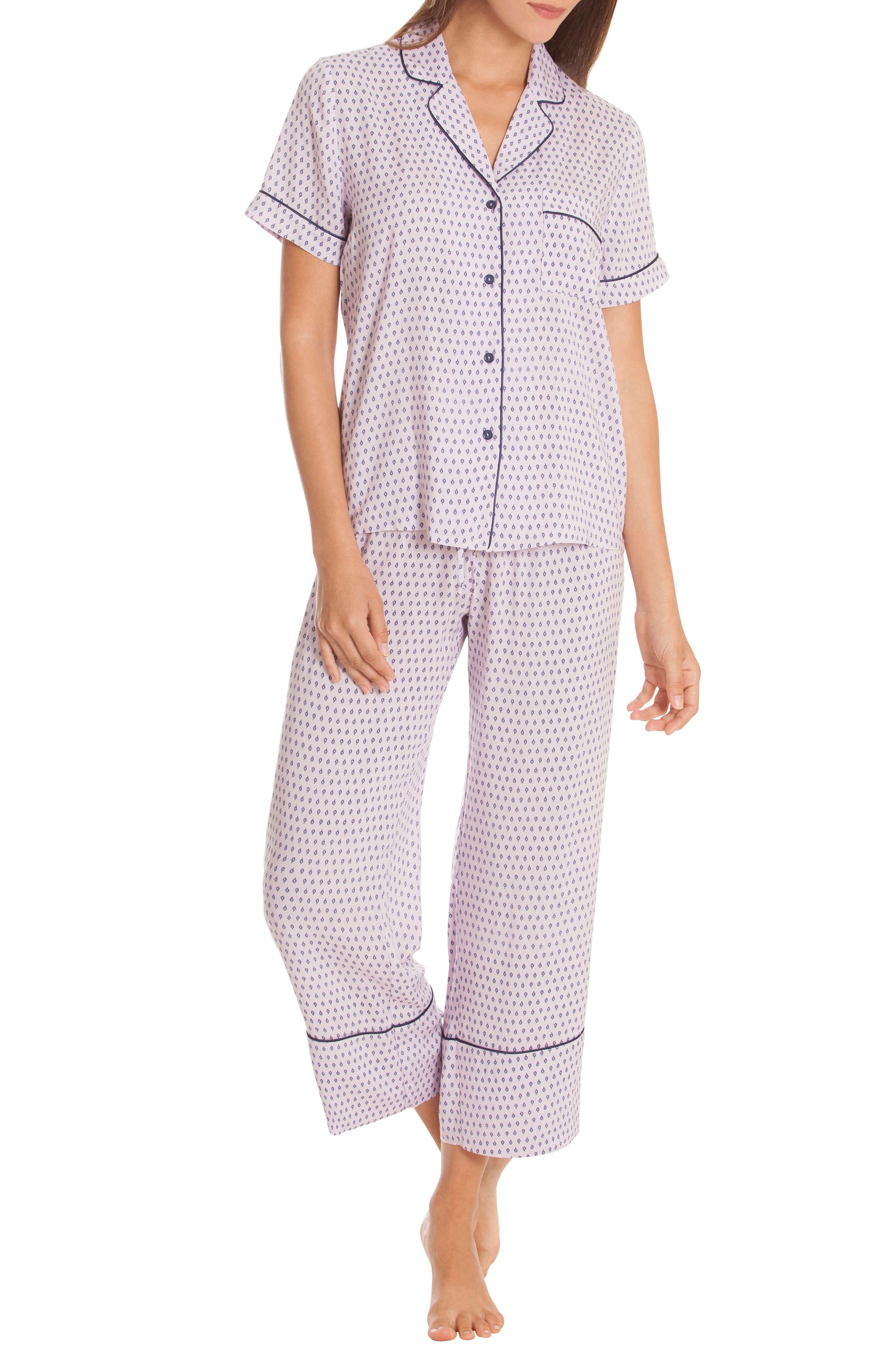 Crop Pajamas,                             Main thumbnail 1, color,                             DITSY FOULARD-LAVENDAR