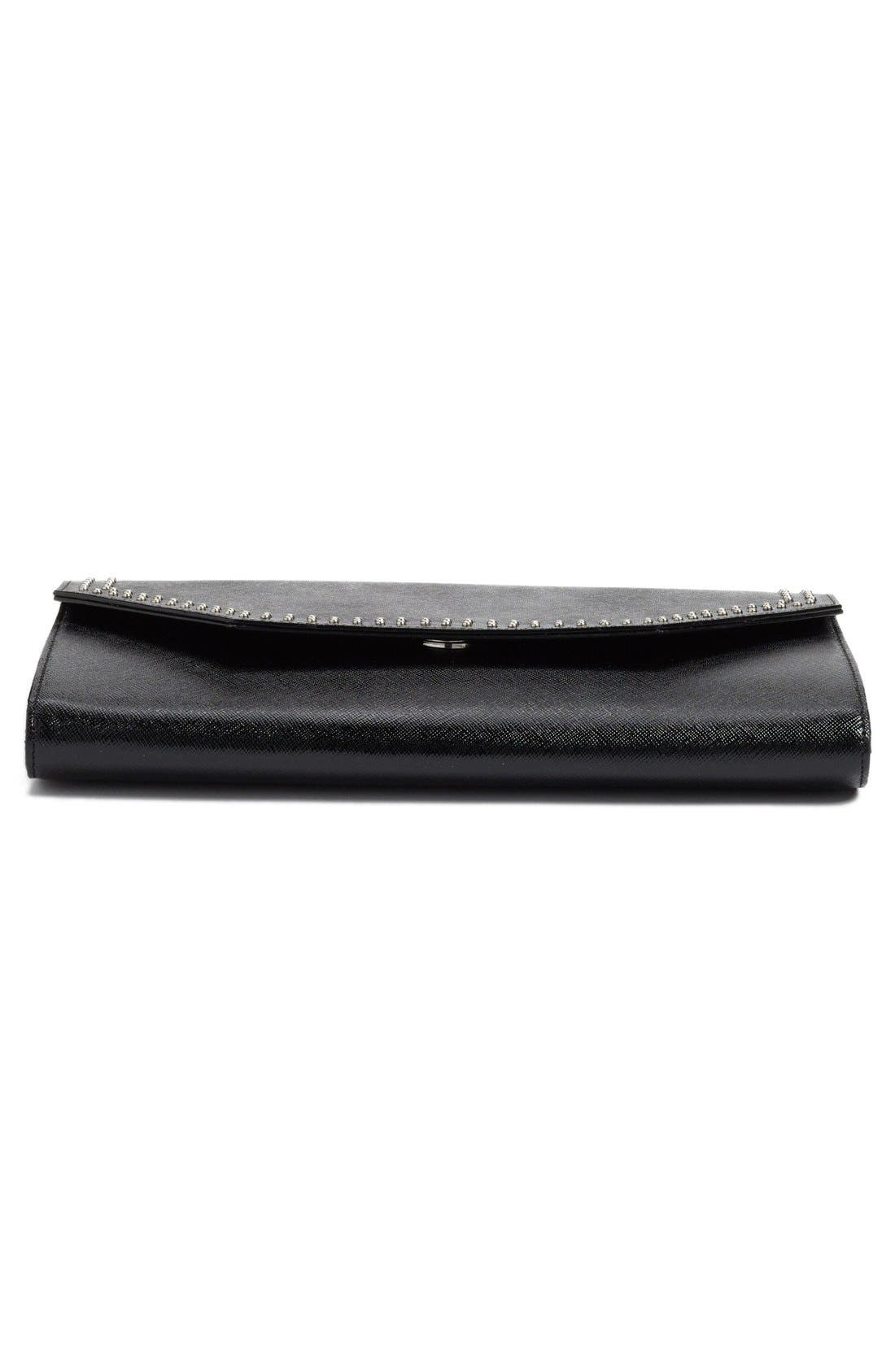 'Angle' Studded Leather Convertible Clutch,                             Alternate thumbnail 4, color,                             001