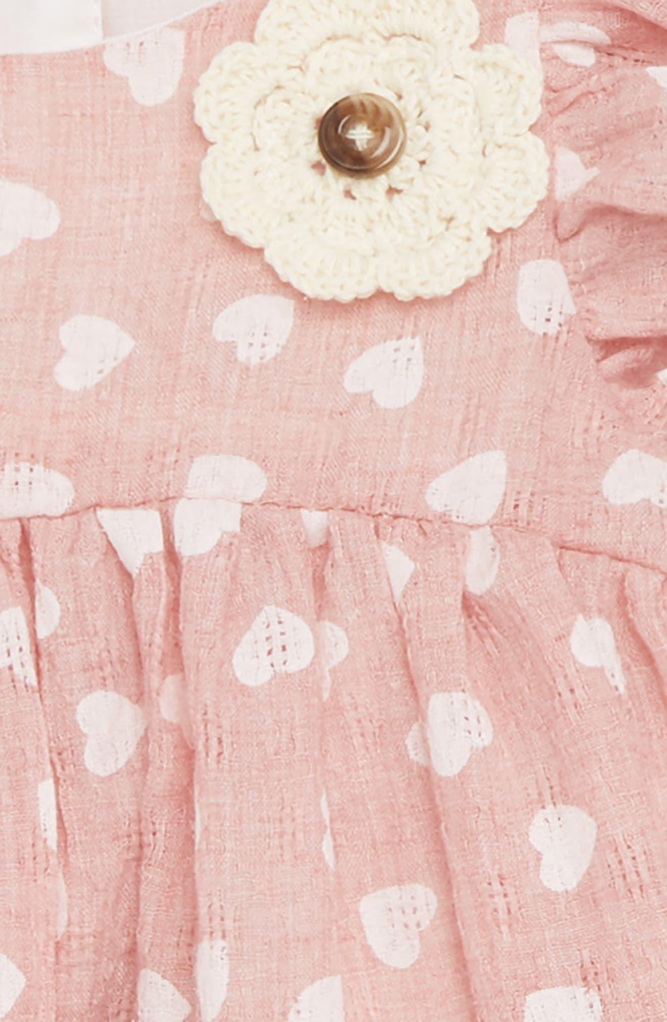 Heart Flutter Sleeve Dress & Capri Leggings Set,                             Alternate thumbnail 2, color,                             650