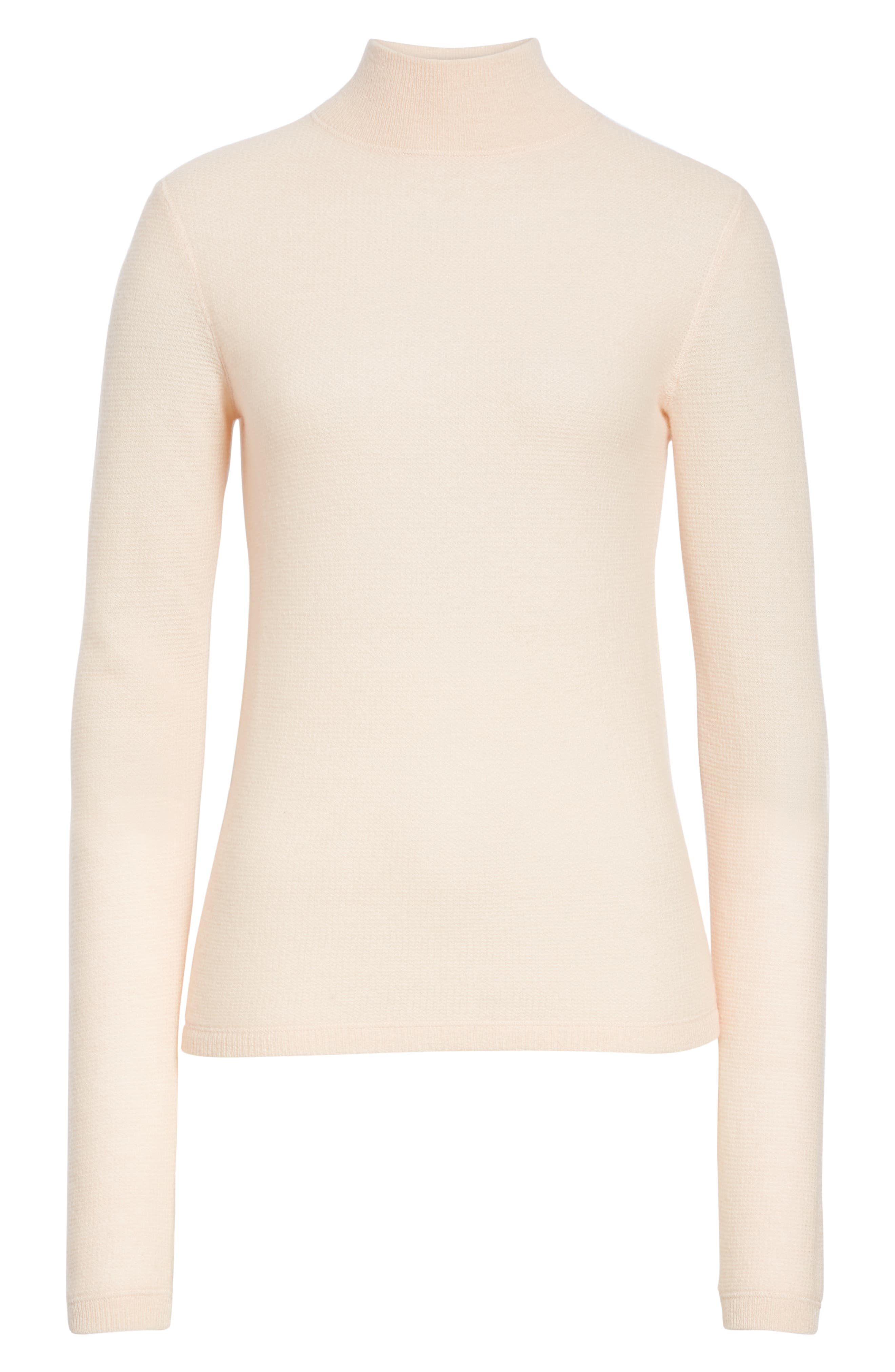 VINCE,                             Waffle Mock Neck Sweater,                             Alternate thumbnail 6, color,                             DESERT ROSE