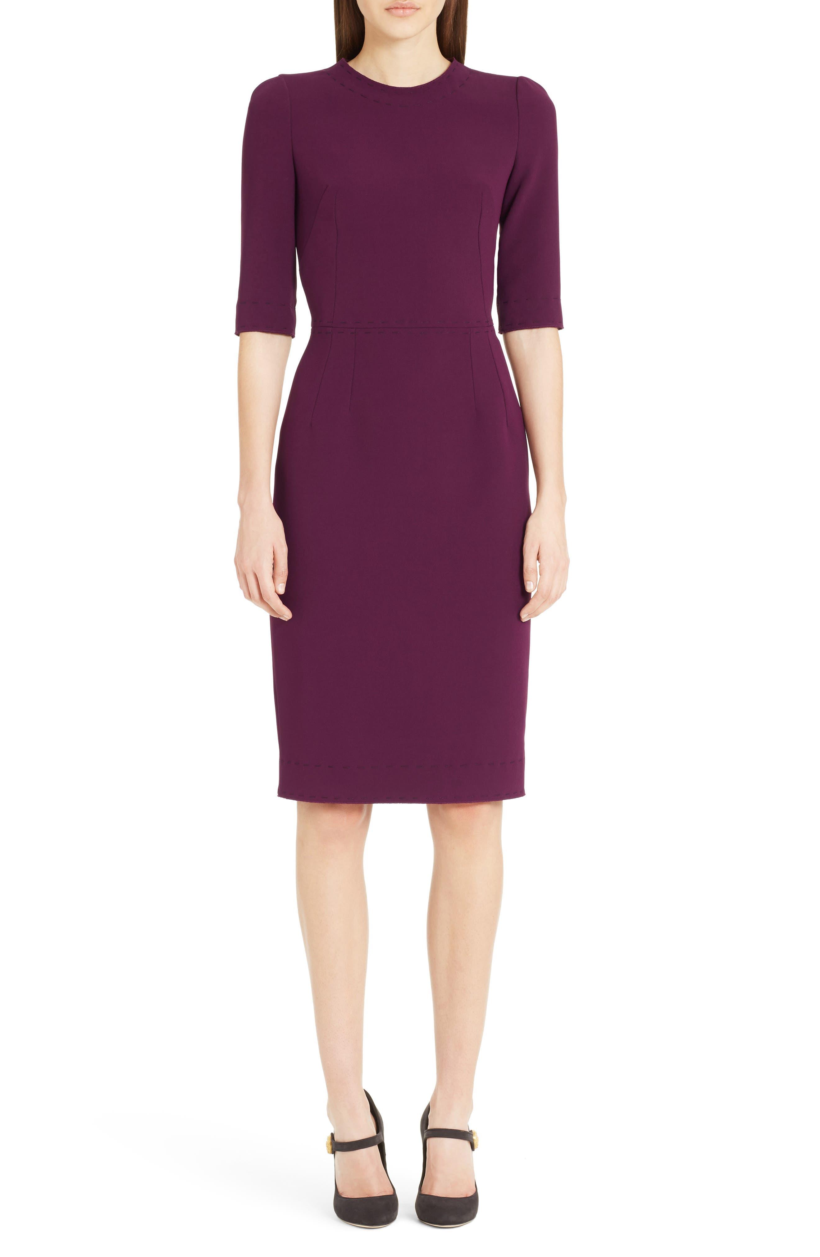 Stretch Cady Sheath Dress,                             Main thumbnail 2, color,
