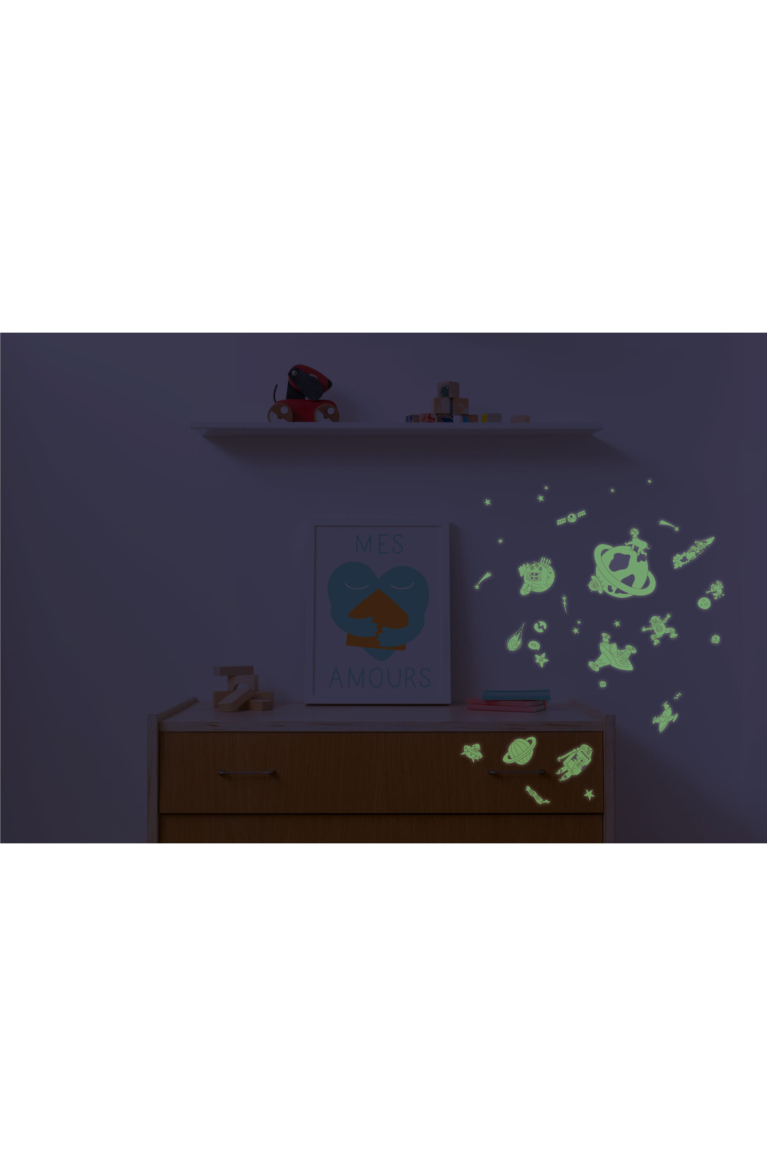 Set of 100 Cosmos Glow in the Dark Wall Stickers,                             Alternate thumbnail 2, color,                             100