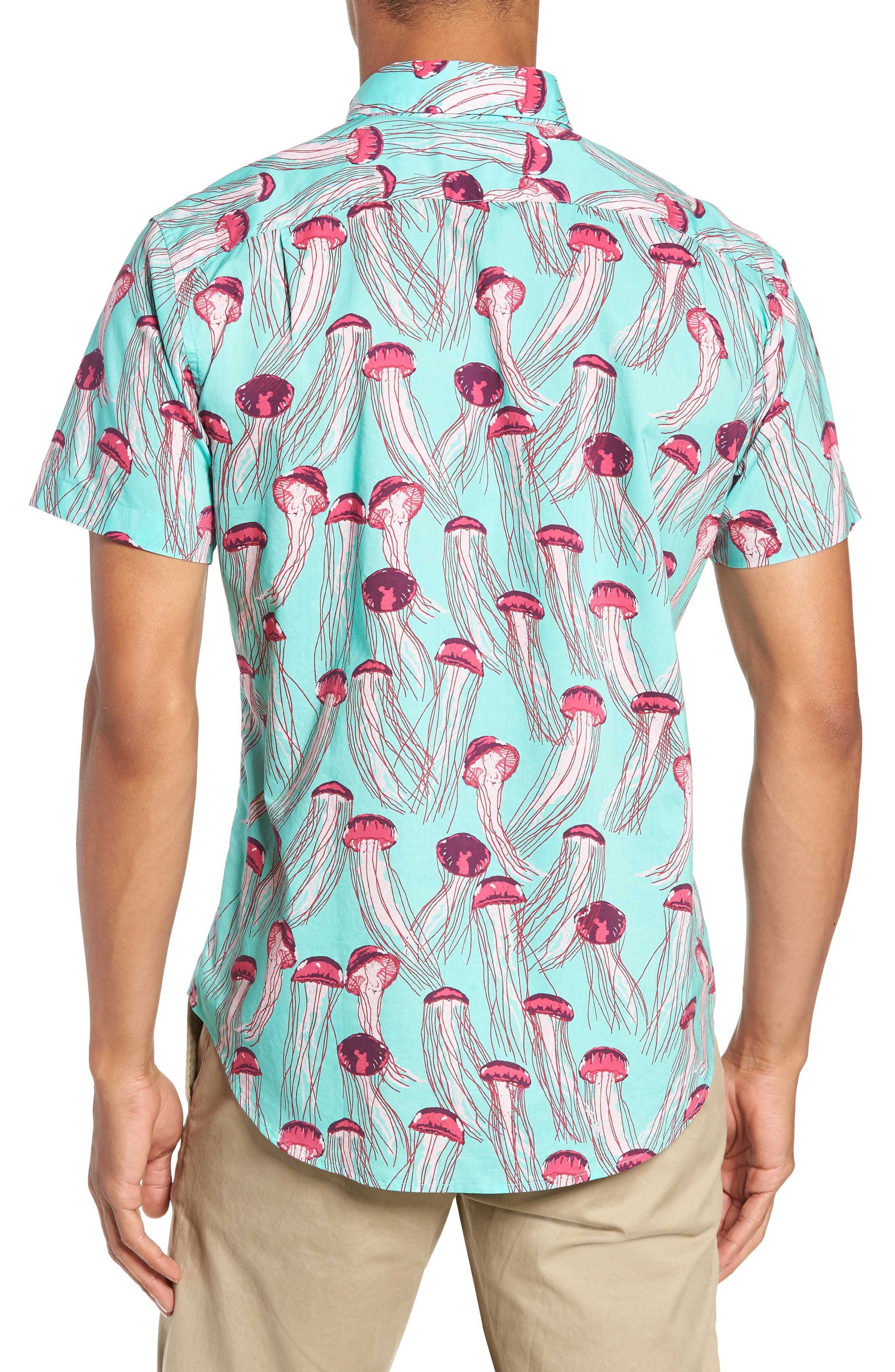 Riviera Slim Fit Jellyfish Print Sport Shirt,                             Alternate thumbnail 3, color,                             JELLYFISH - BERMUDA