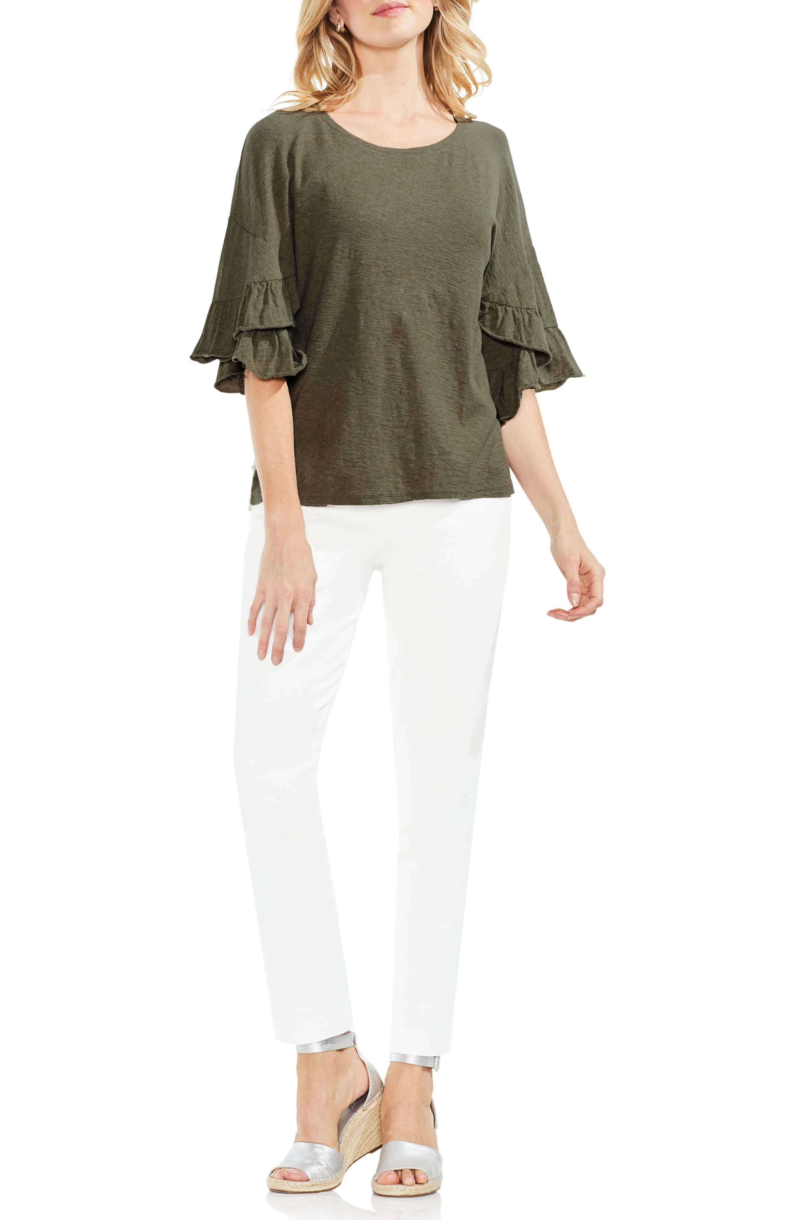 Tiered Ruffle Sleeve Top,                             Alternate thumbnail 4, color,                             371