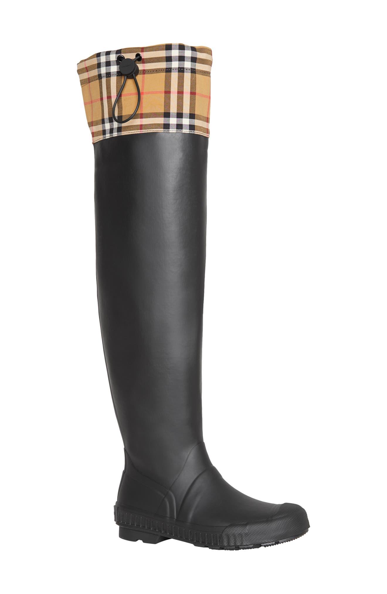 BURBERRY,                             Freddie Tall Waterproof Rain Boot,                             Main thumbnail 1, color,                             BLACK