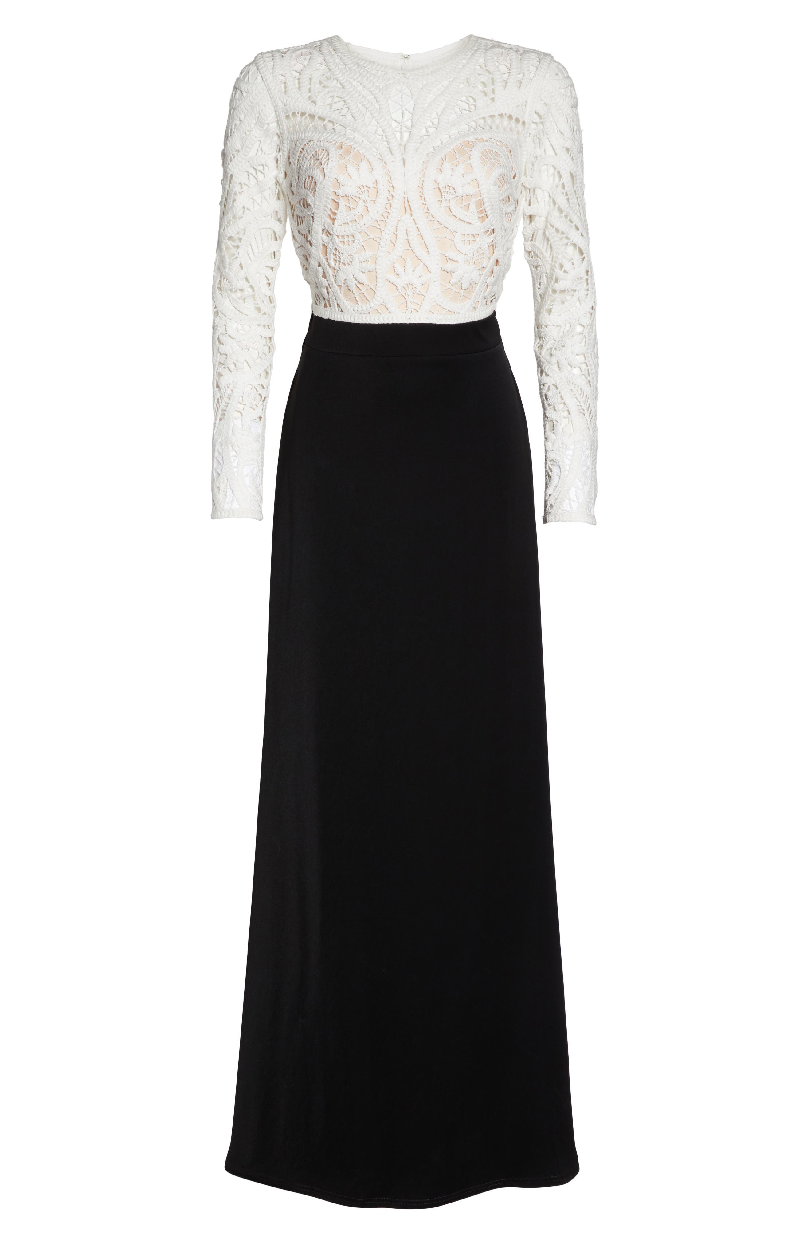 Crochet Lace & Crepe Gown,                             Alternate thumbnail 6, color,                             IVORY/ BLACK