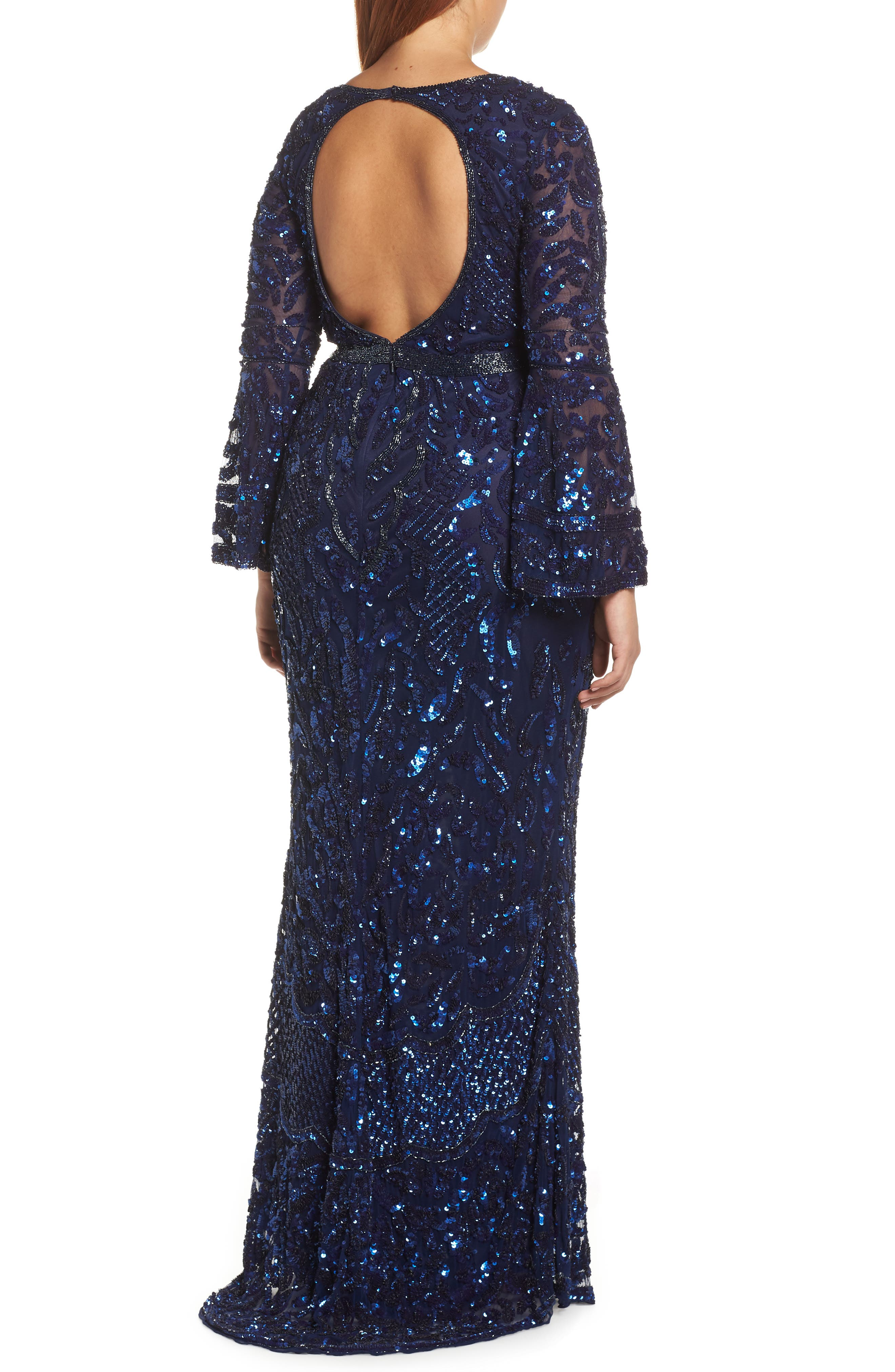 Sequin Bell Sleeve Gown,                             Alternate thumbnail 9, color,                             MIDNIGHT
