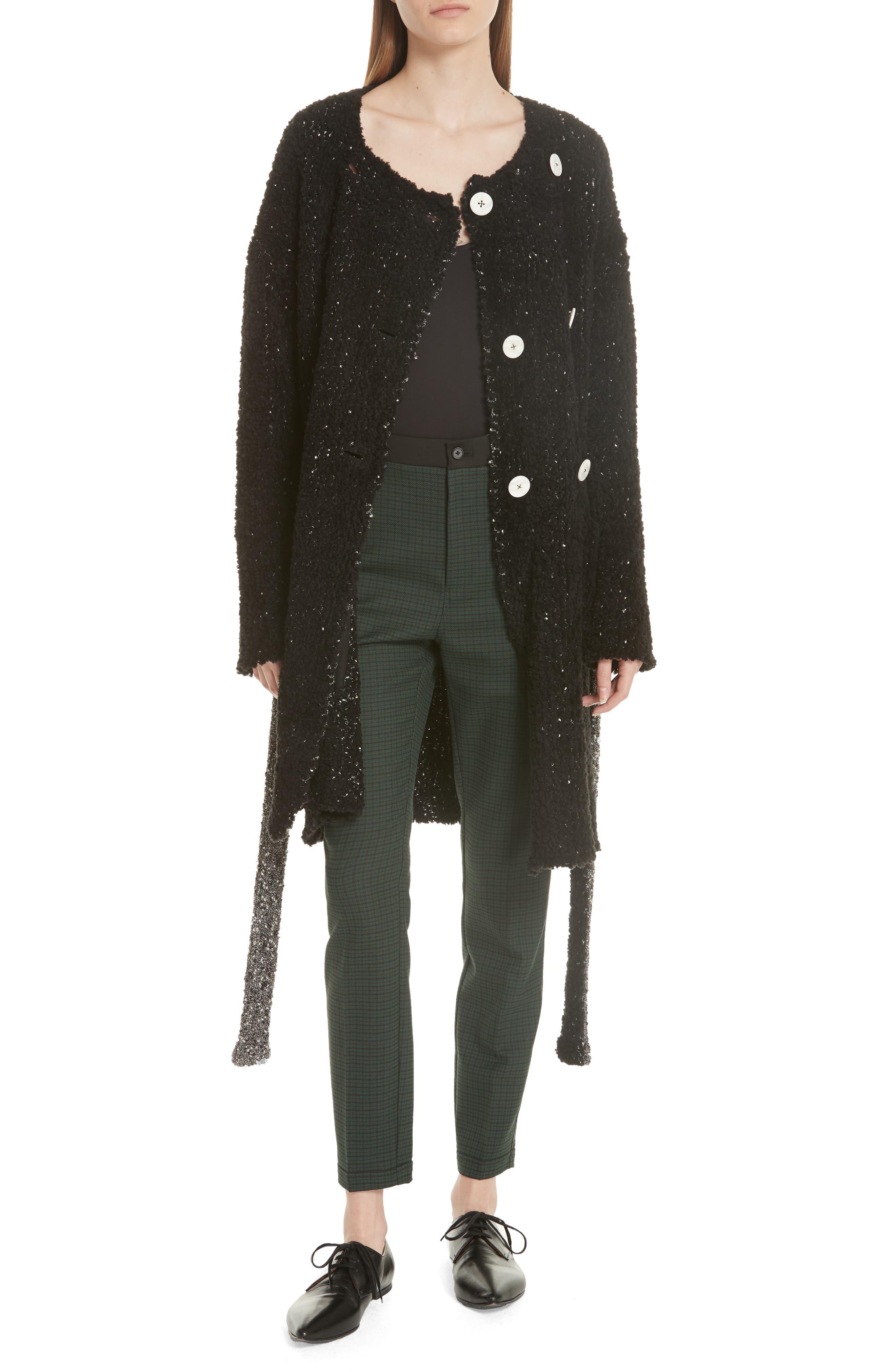 GREY JASON WU Boucle Double Breasted Cardigan in Black