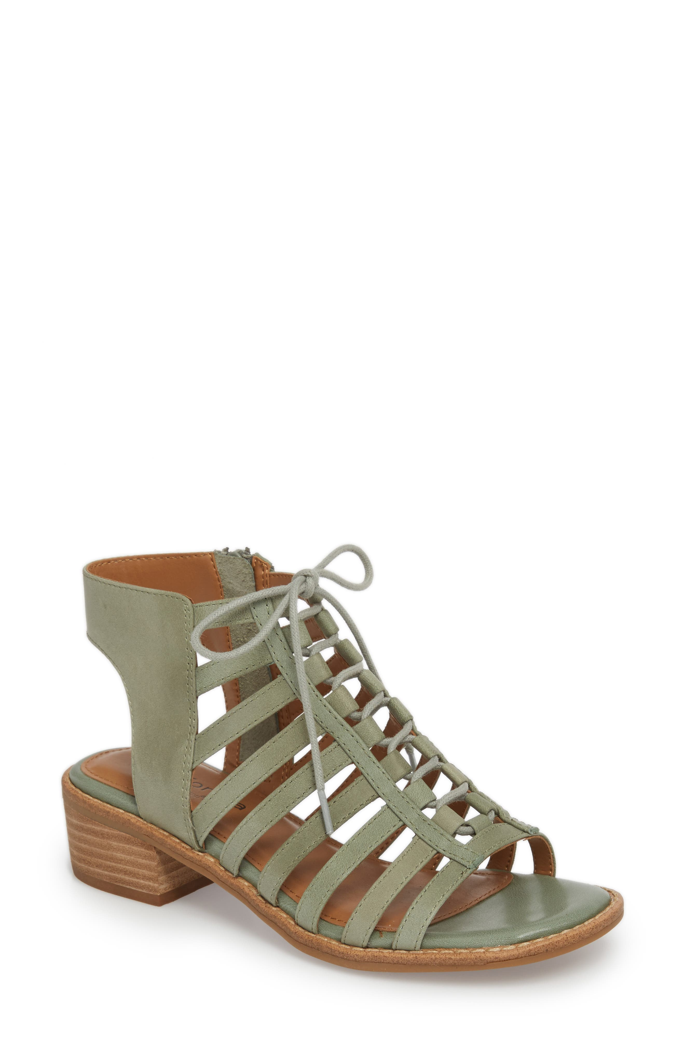 Blossom Sandal,                             Main thumbnail 1, color,                             SAGE LEATHER