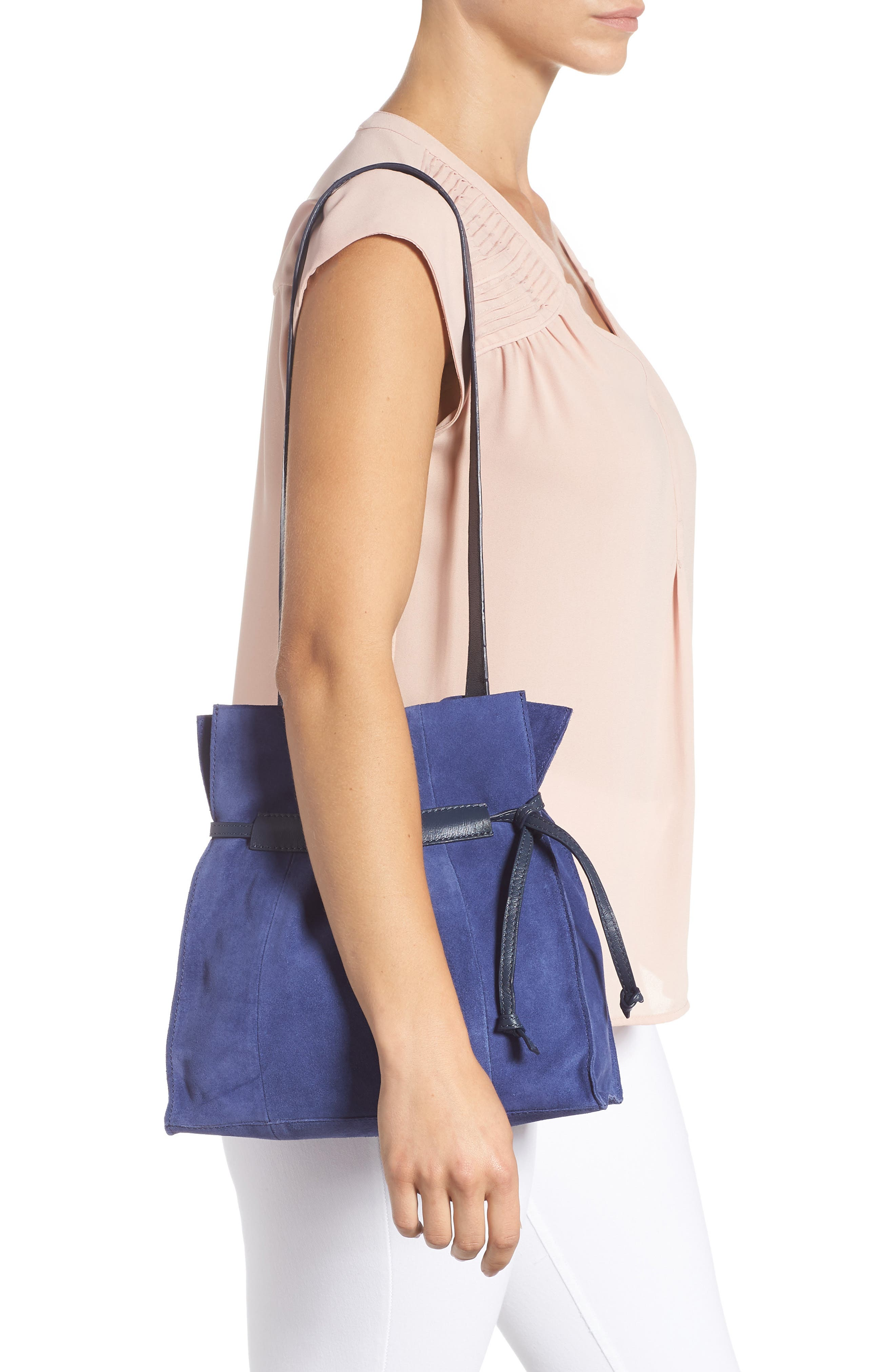Pull String Faux Leather Bucket Bag,                             Alternate thumbnail 2, color,                             BLUE