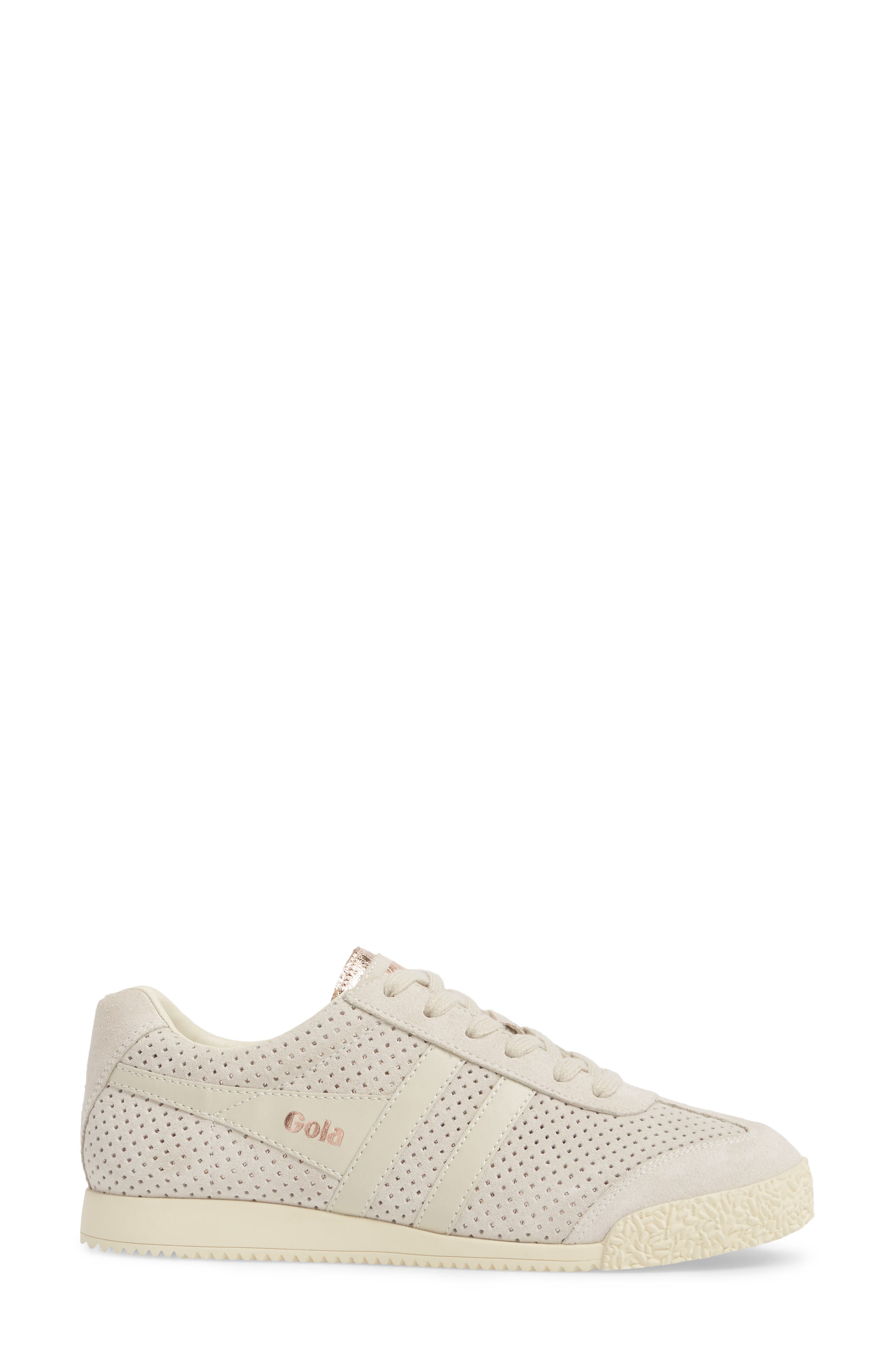 Harrier Glimmer Suede Low Top Sneaker,                             Alternate thumbnail 3, color,                             WINDCHIME/ GOLD/ OFF WHITE