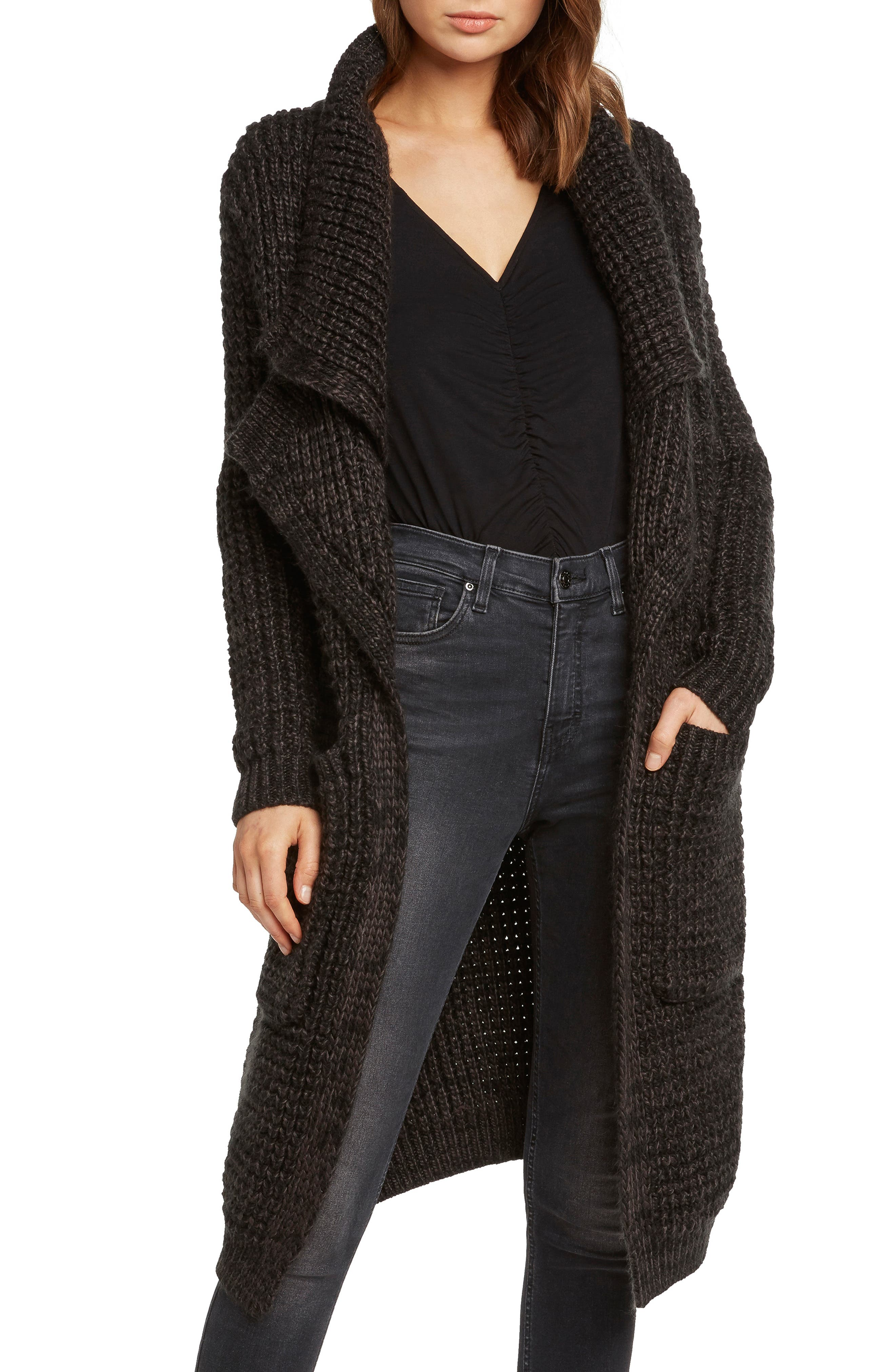 Oversized Long Cardigan,                         Main,                         color, CHARCOAL