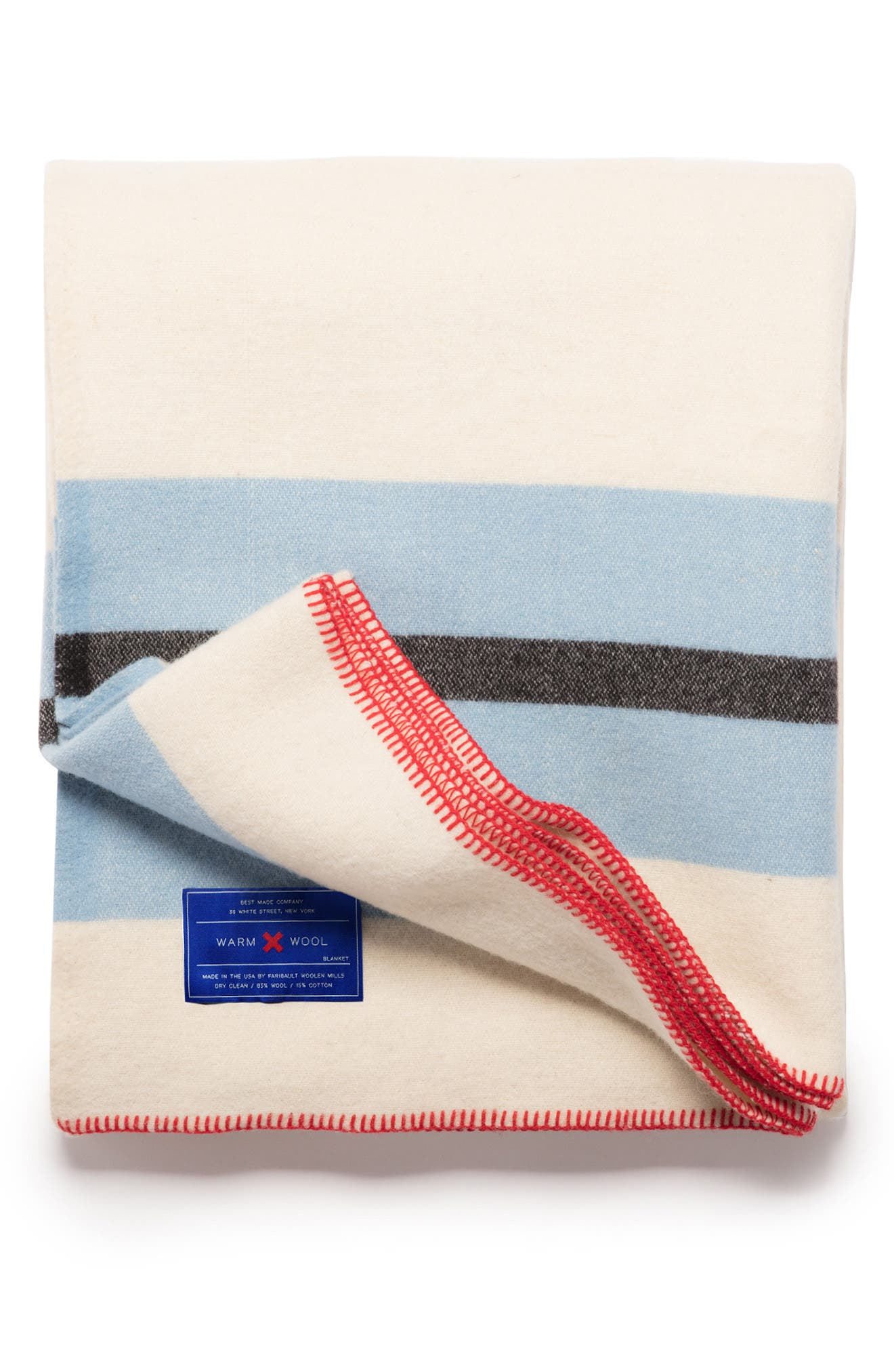 The Warm Wool Blend Blanket, Main, color, WHITE/ BLUE/ RED