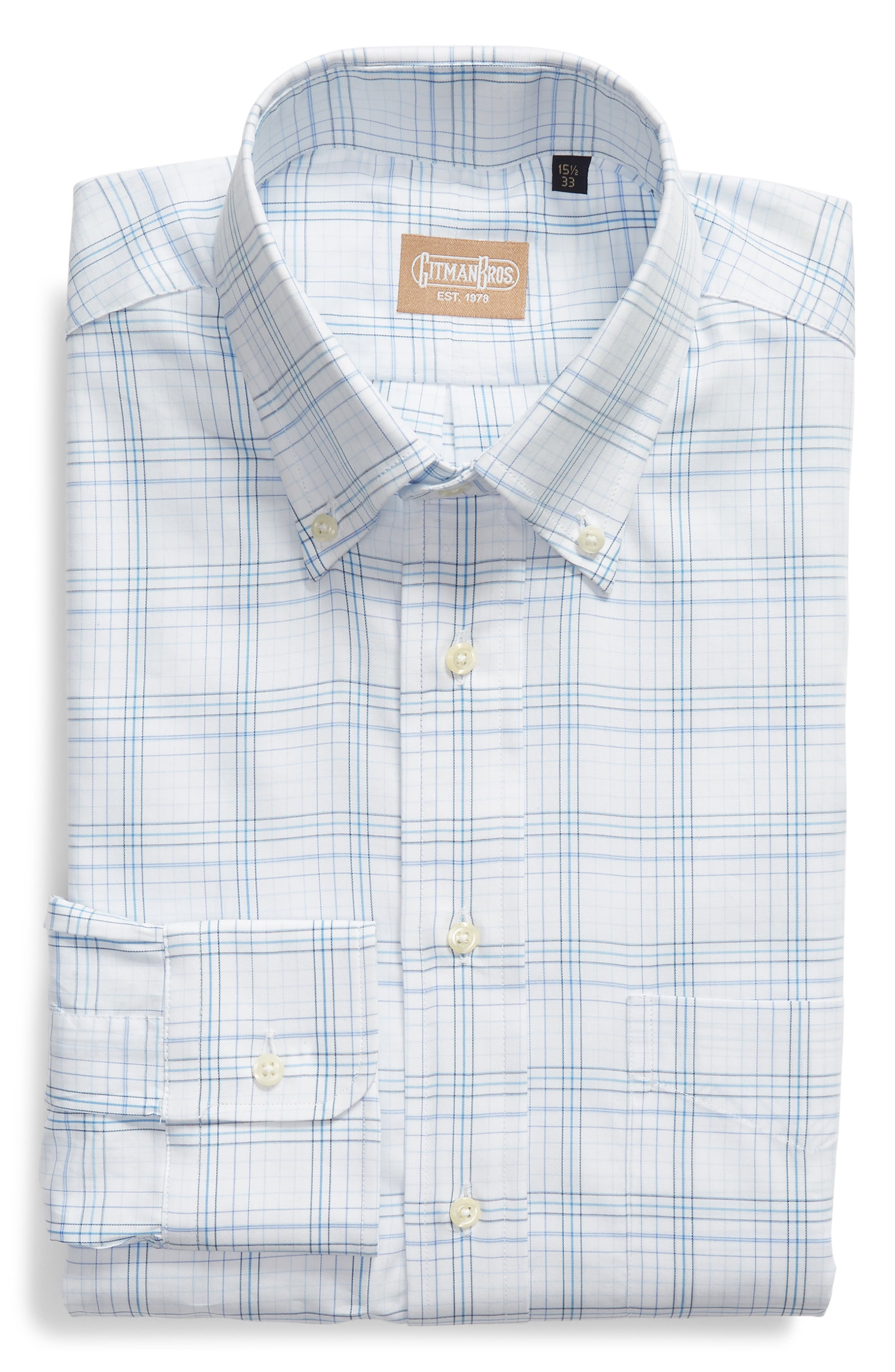 Tailored Fit Plaid Dress Shirt,                             Alternate thumbnail 5, color,                             WHITE/ BURGUNDY