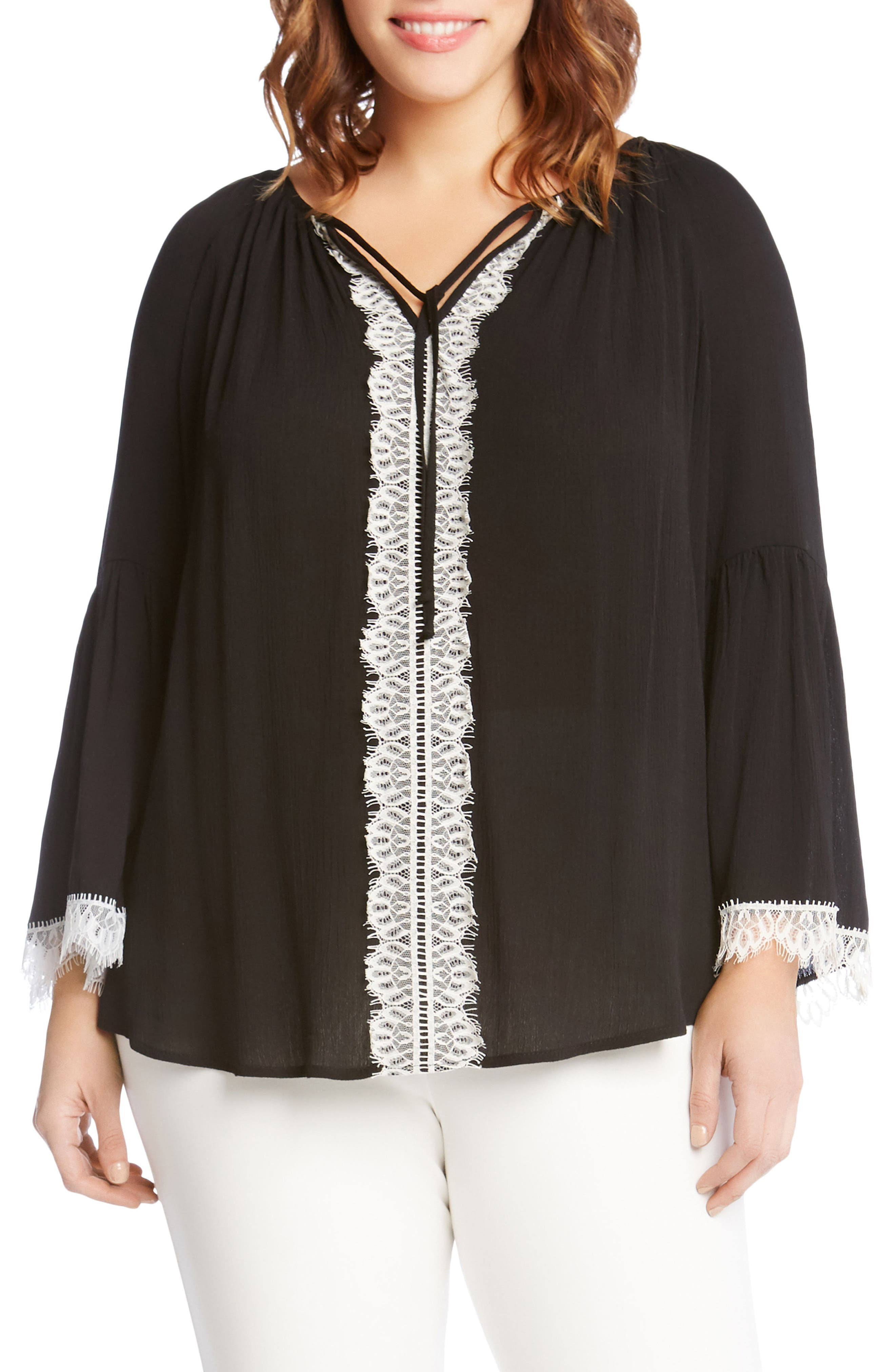 Lace Trim Peasant Top,                             Main thumbnail 1, color,                             001