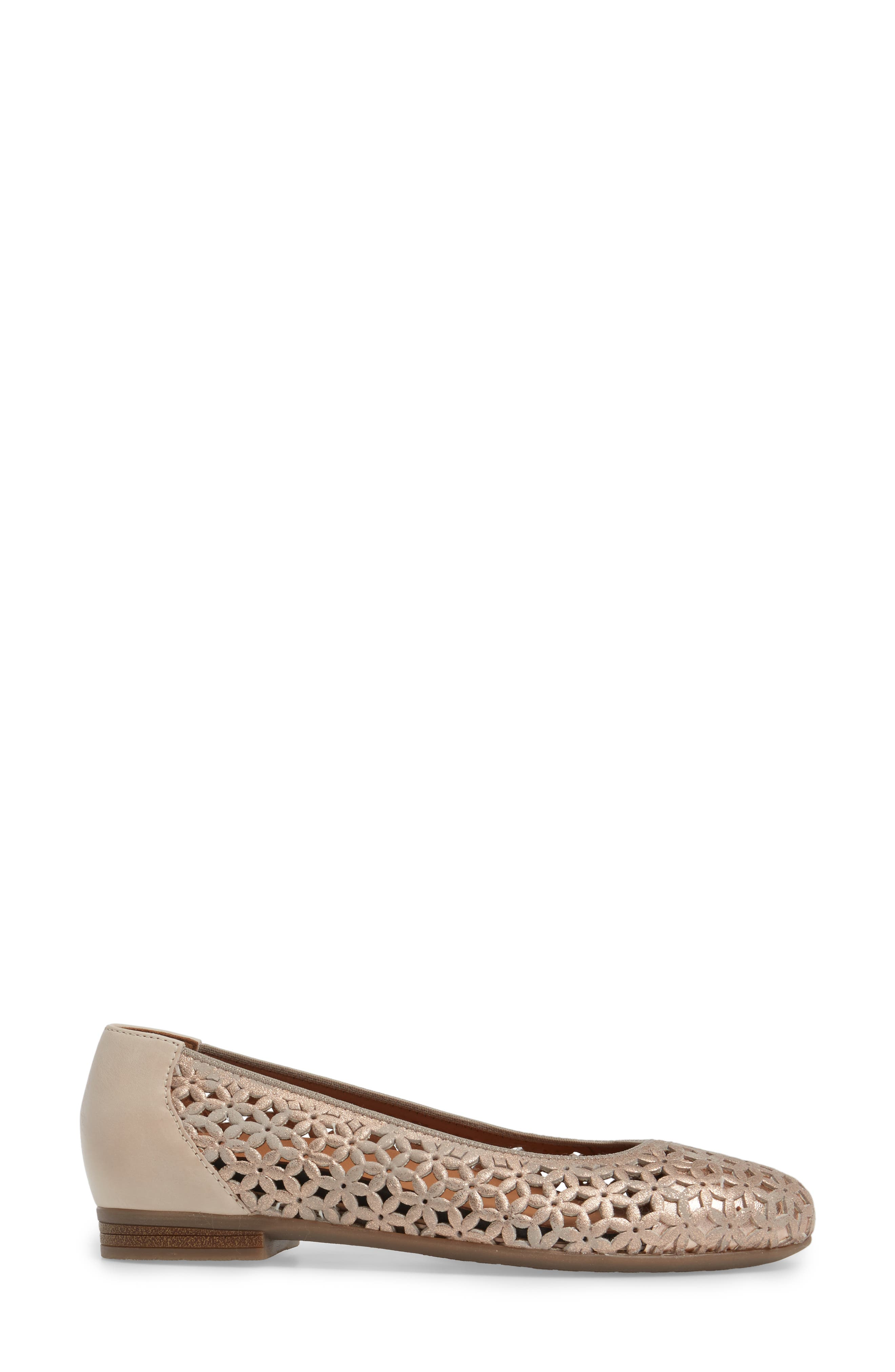 Stephanie Perforated Ballet Flat,                             Alternate thumbnail 3, color,                             ROSE GOLD LEATHER