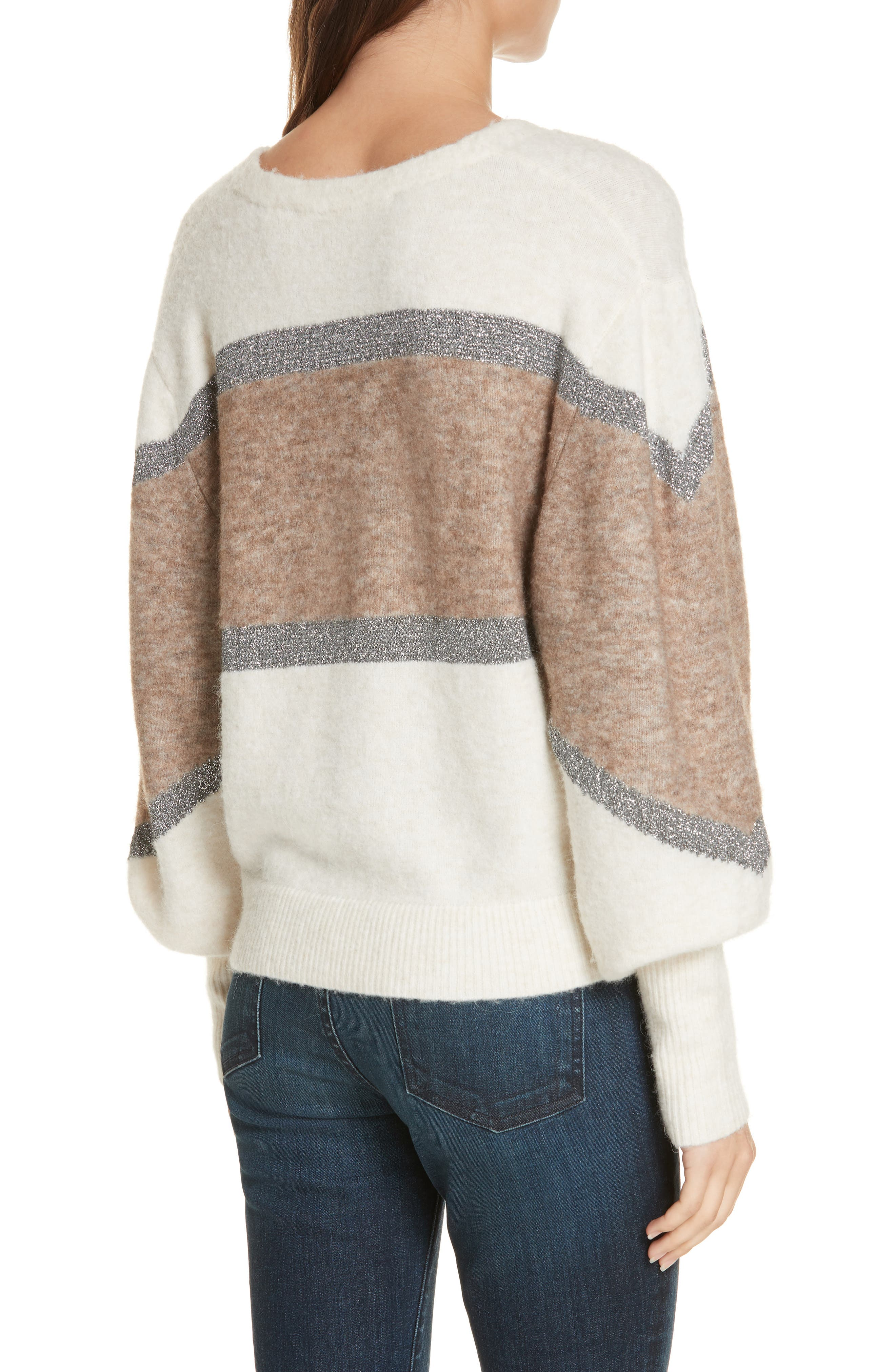 Miley Stripe Sweater,                             Alternate thumbnail 2, color,                             IVORY MULTI