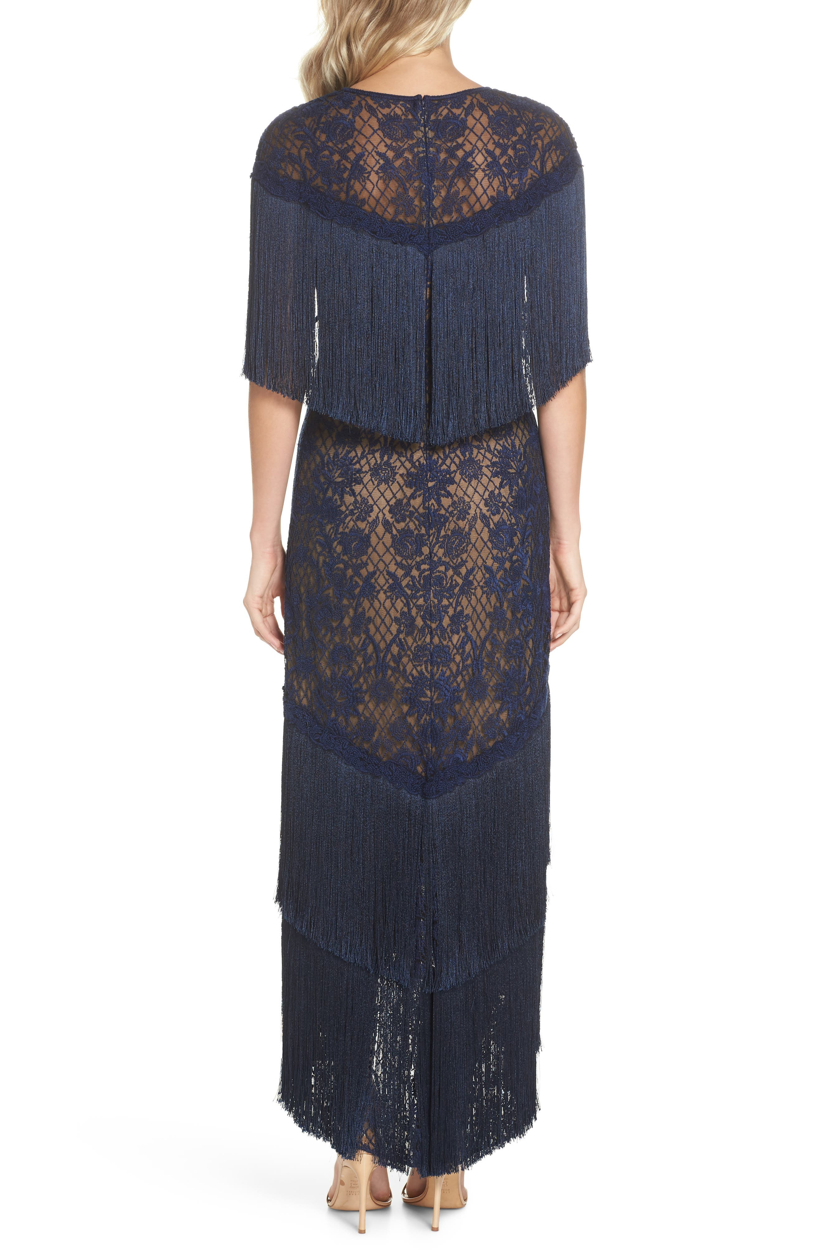 Embroidered Mesh & Fringe Gown,                             Alternate thumbnail 2, color,                             MIDNIGHT/ NUDE