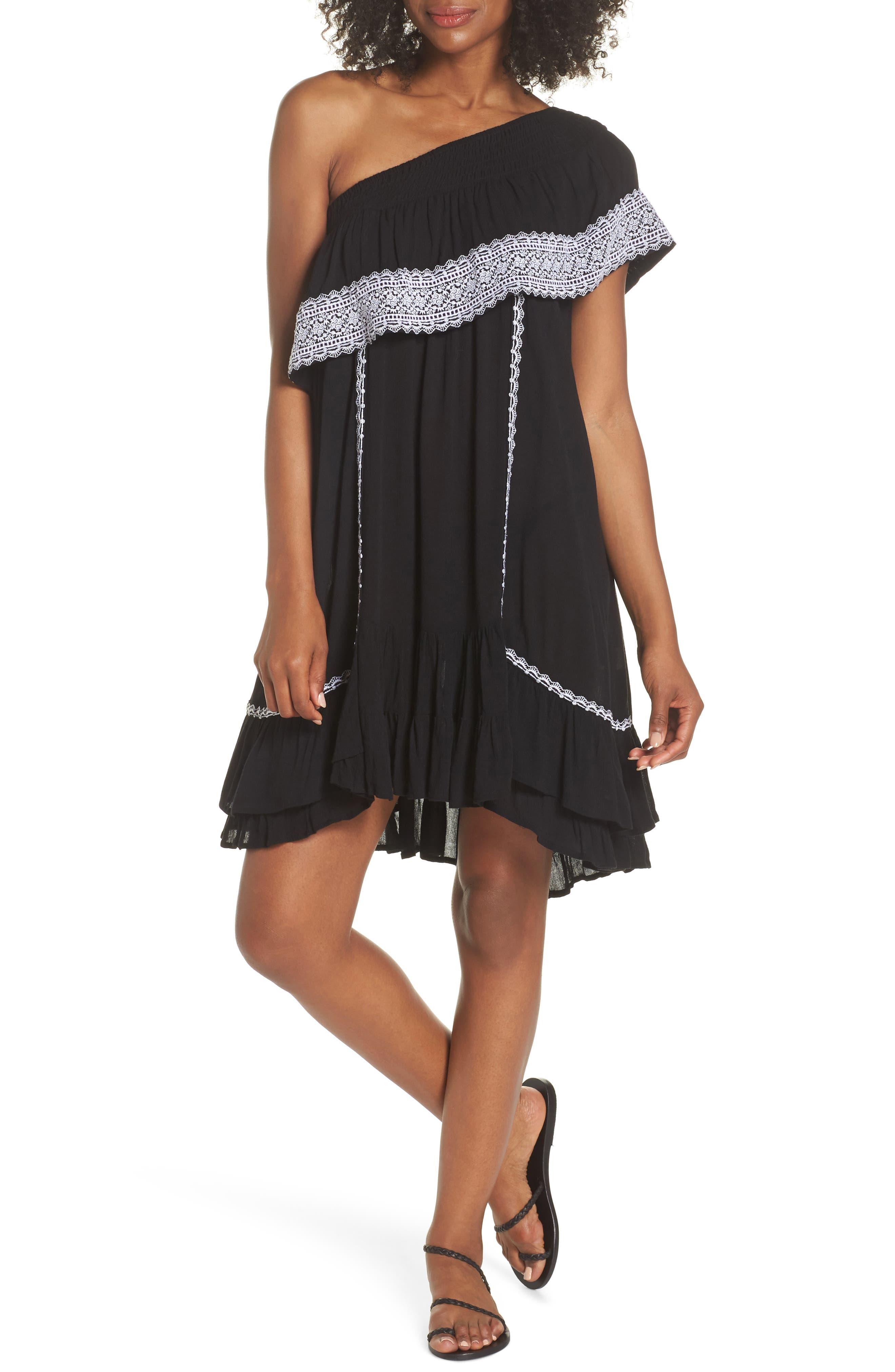 Gavin One-Shoulder Cover-Up Dress,                         Main,                         color, 002