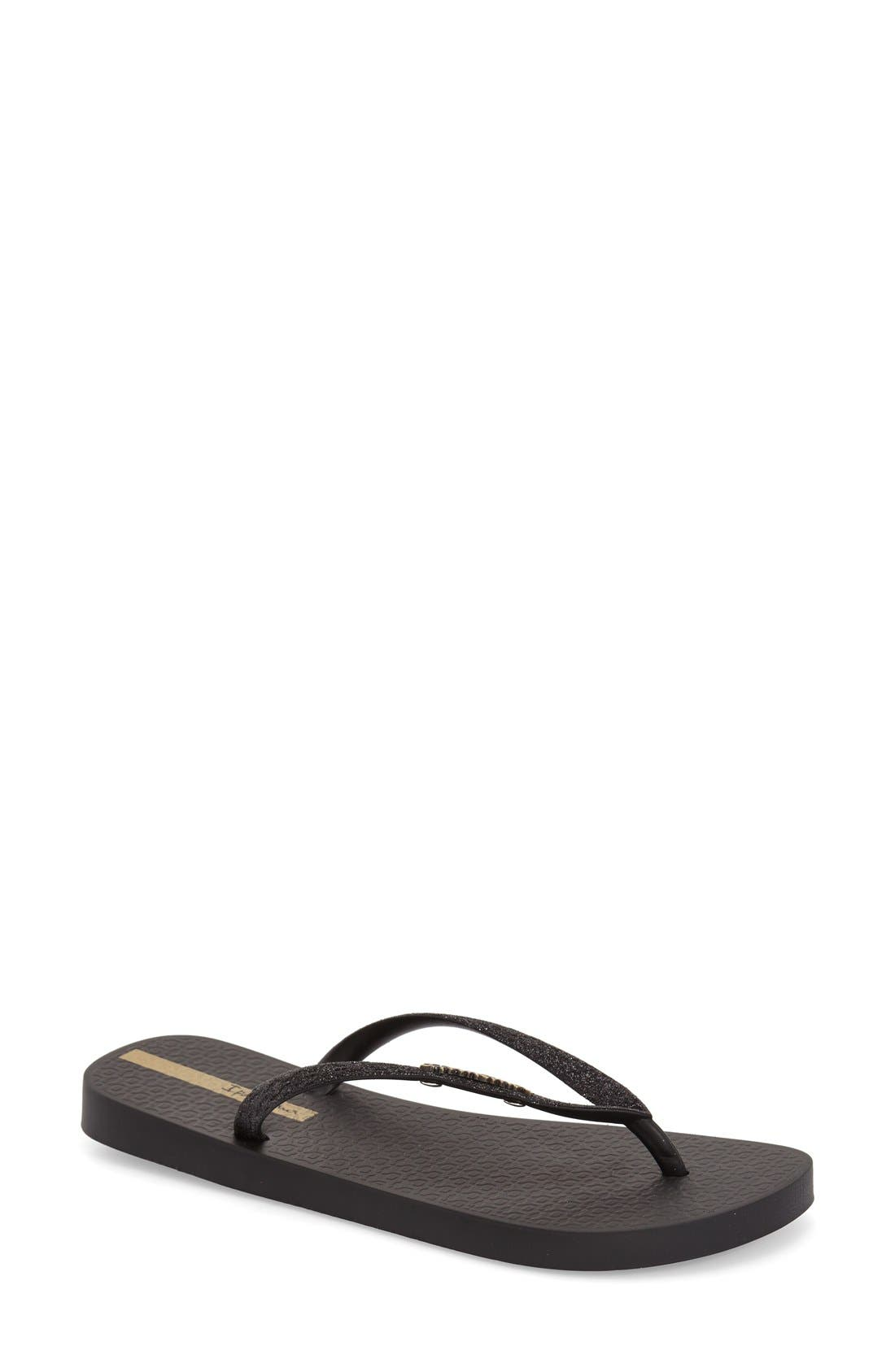 'Glitter' Flip Flop,                         Main,                         color, BLACK