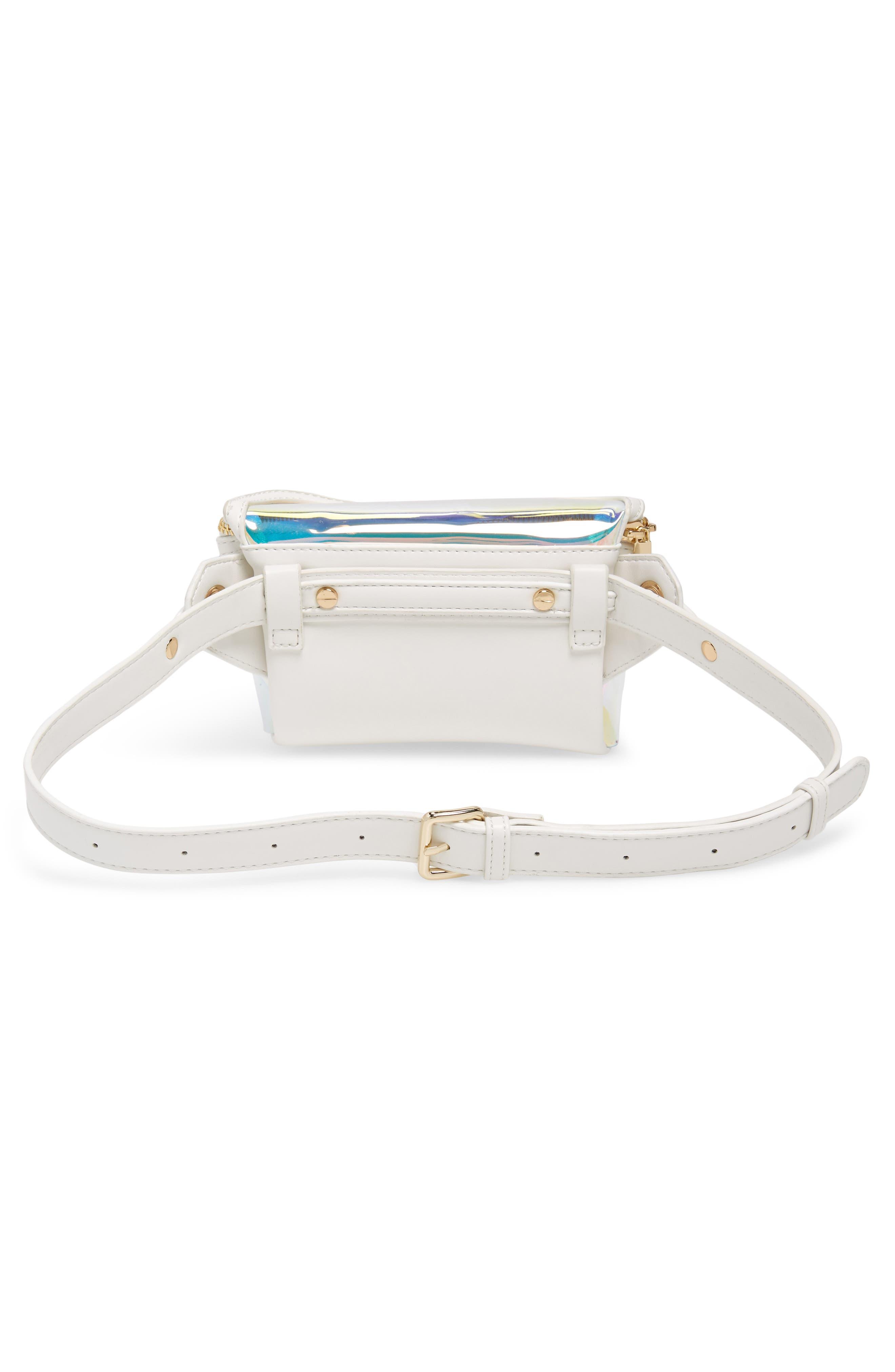 Irina Clear Belt Bag,                             Alternate thumbnail 4, color,                             HOLOGRAPHIC/ WHITE