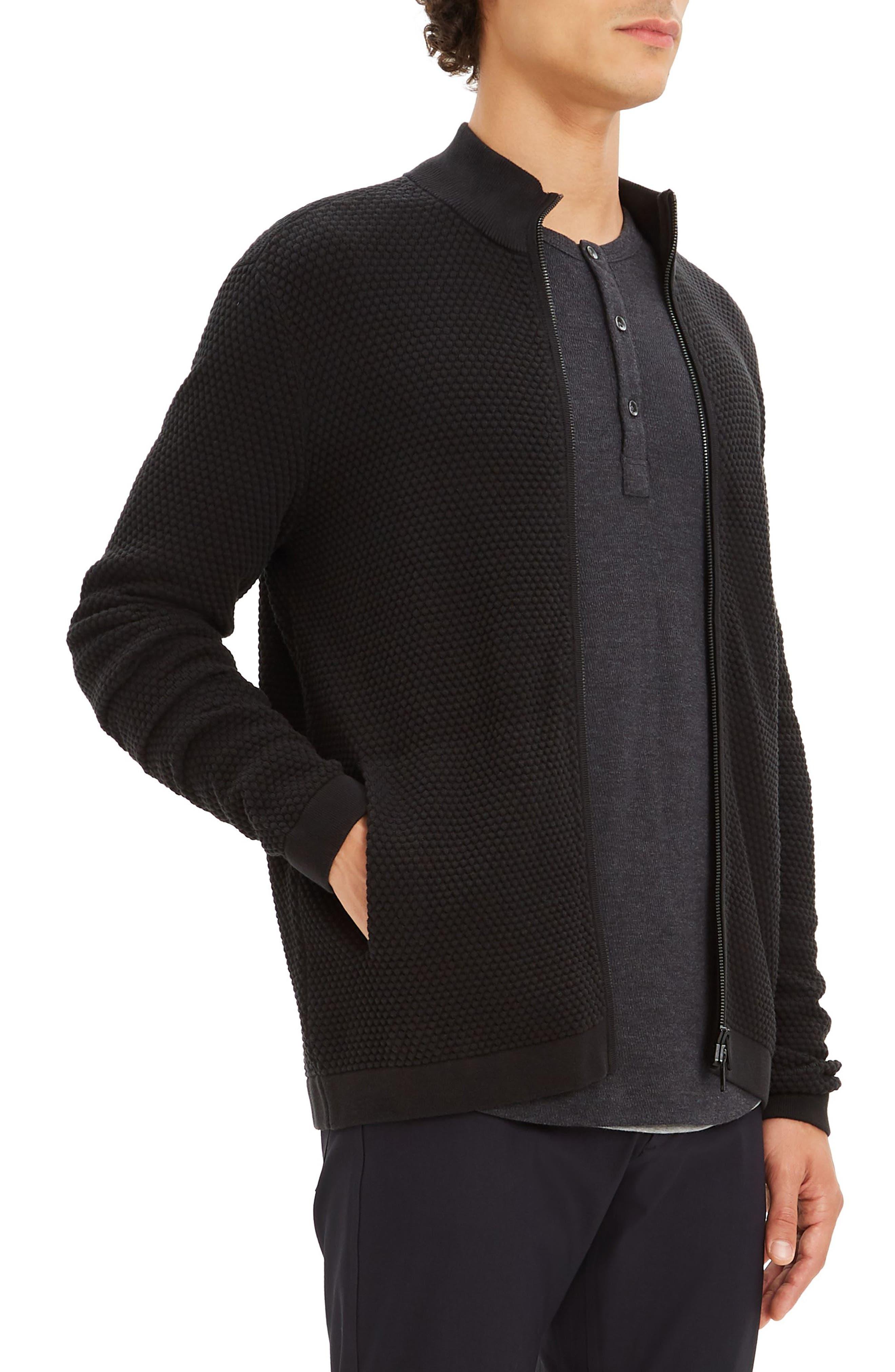 Udeval Breach Regular Fit Zip Sweater,                             Alternate thumbnail 3, color,                             BLACK