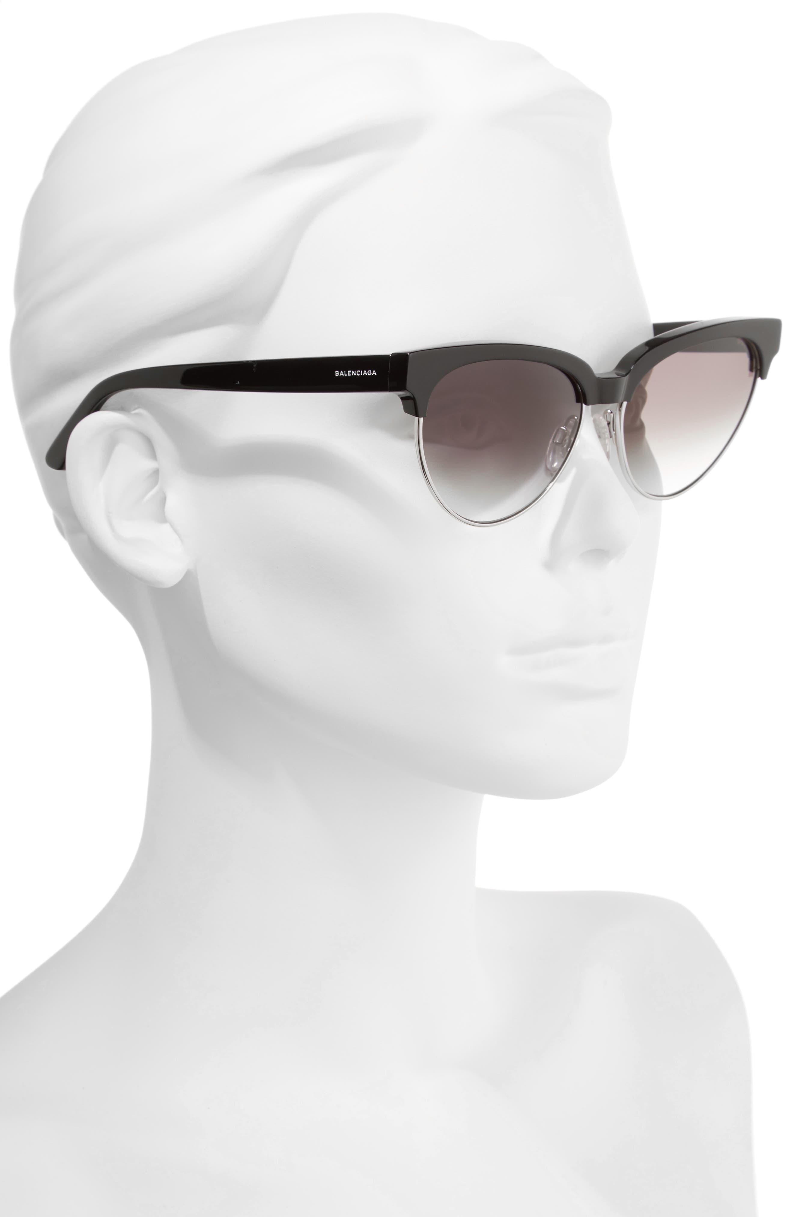 57mm Gradient Cat Eye Sunglasses,                             Alternate thumbnail 2, color,                             001