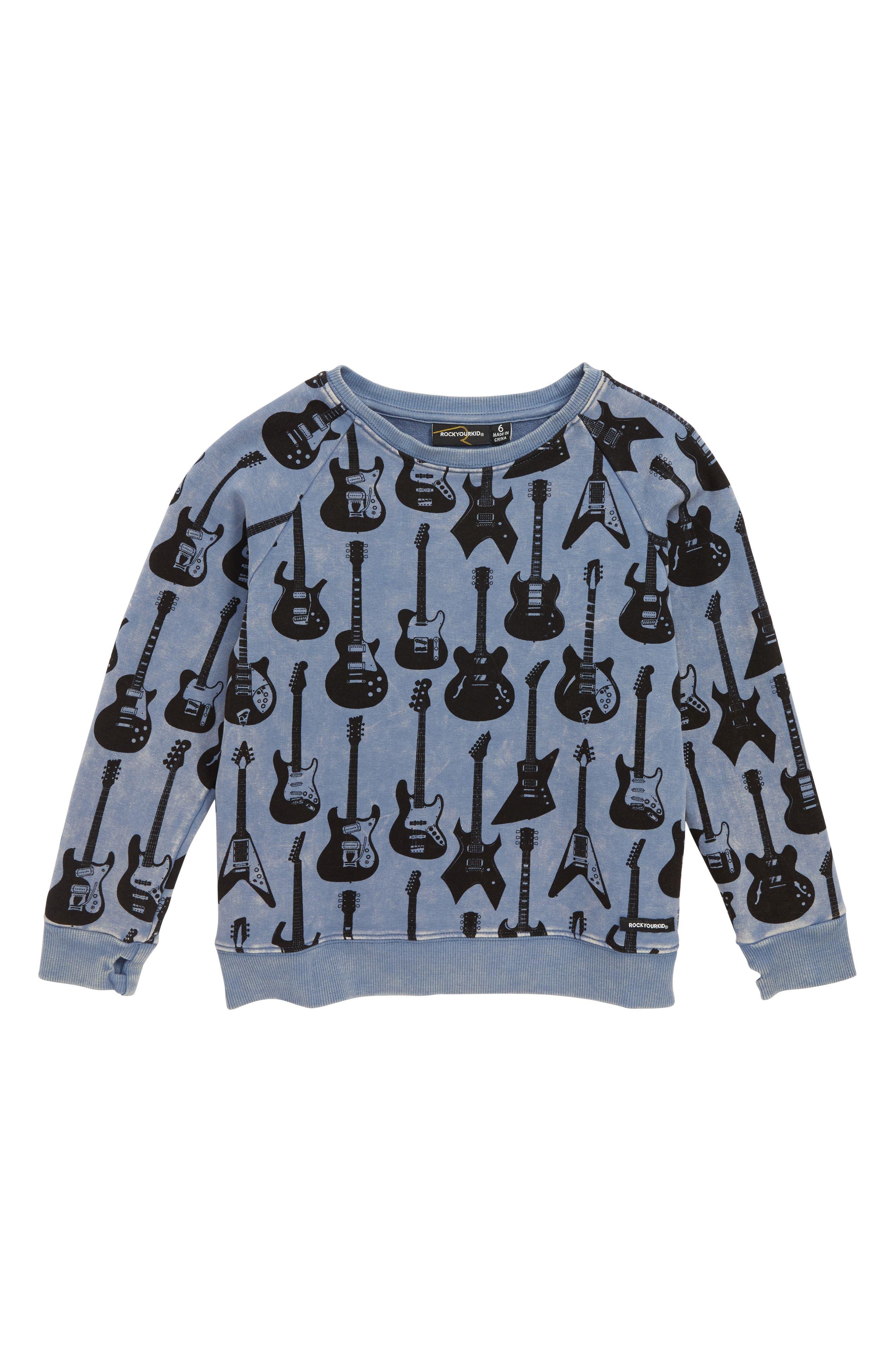 Guitar Hero Sweatshirt,                             Main thumbnail 1, color,                             DARK BLUE