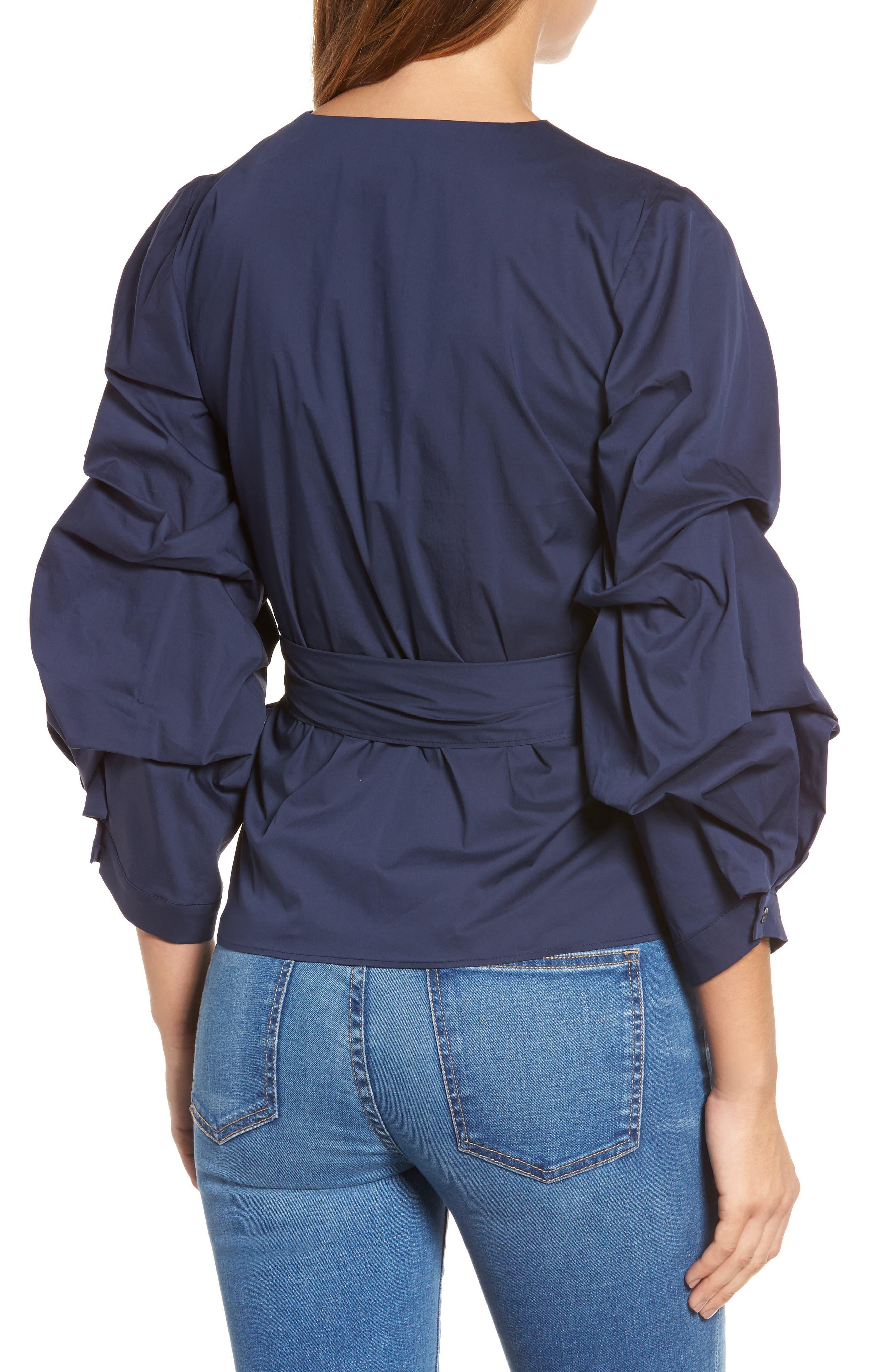 Pintuck Blouson Sleeve Wrap Top,                             Alternate thumbnail 2, color,                             410