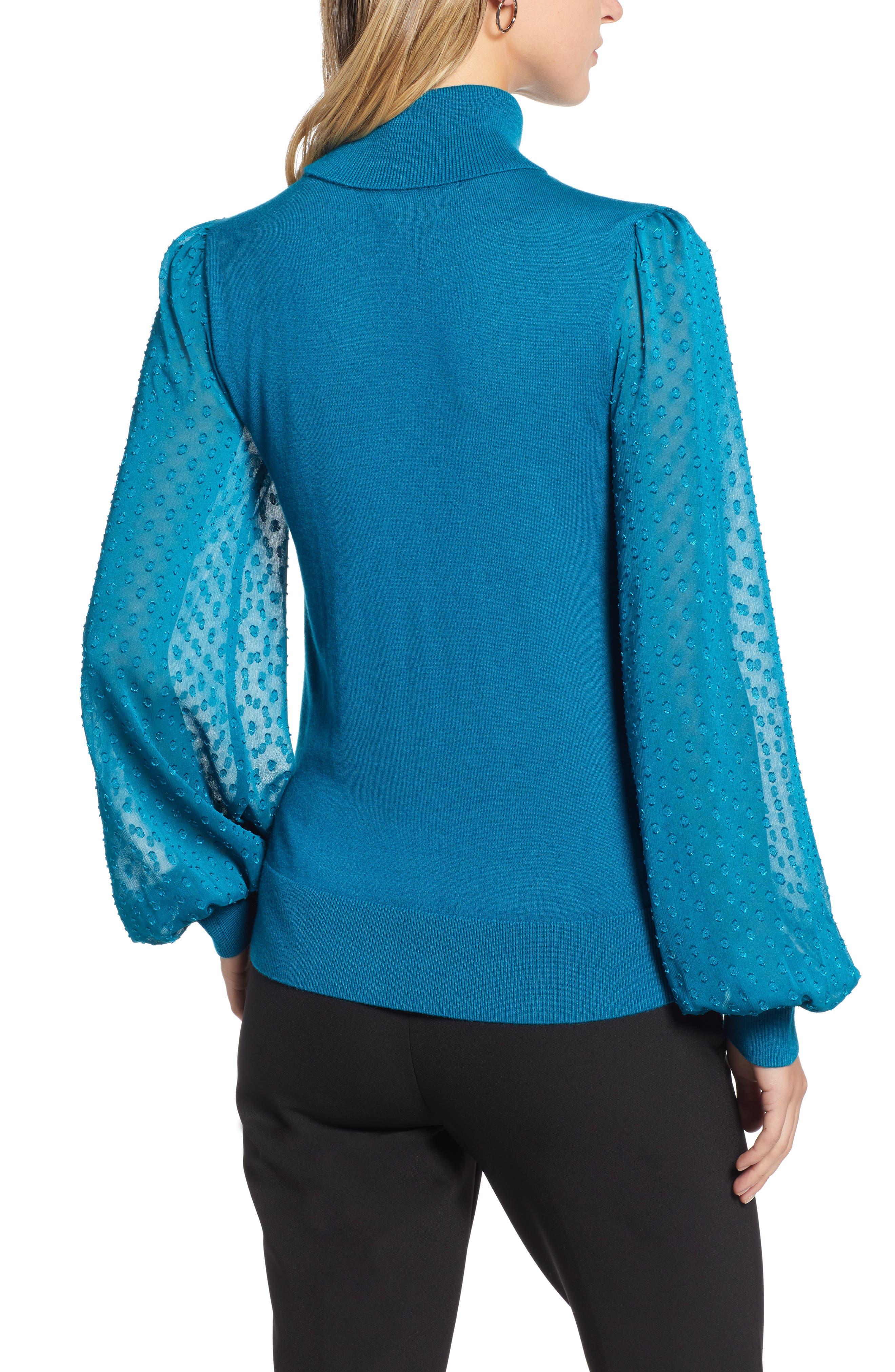 Sheer Sleeve Turtleneck Sweater,                             Alternate thumbnail 2, color,                             449