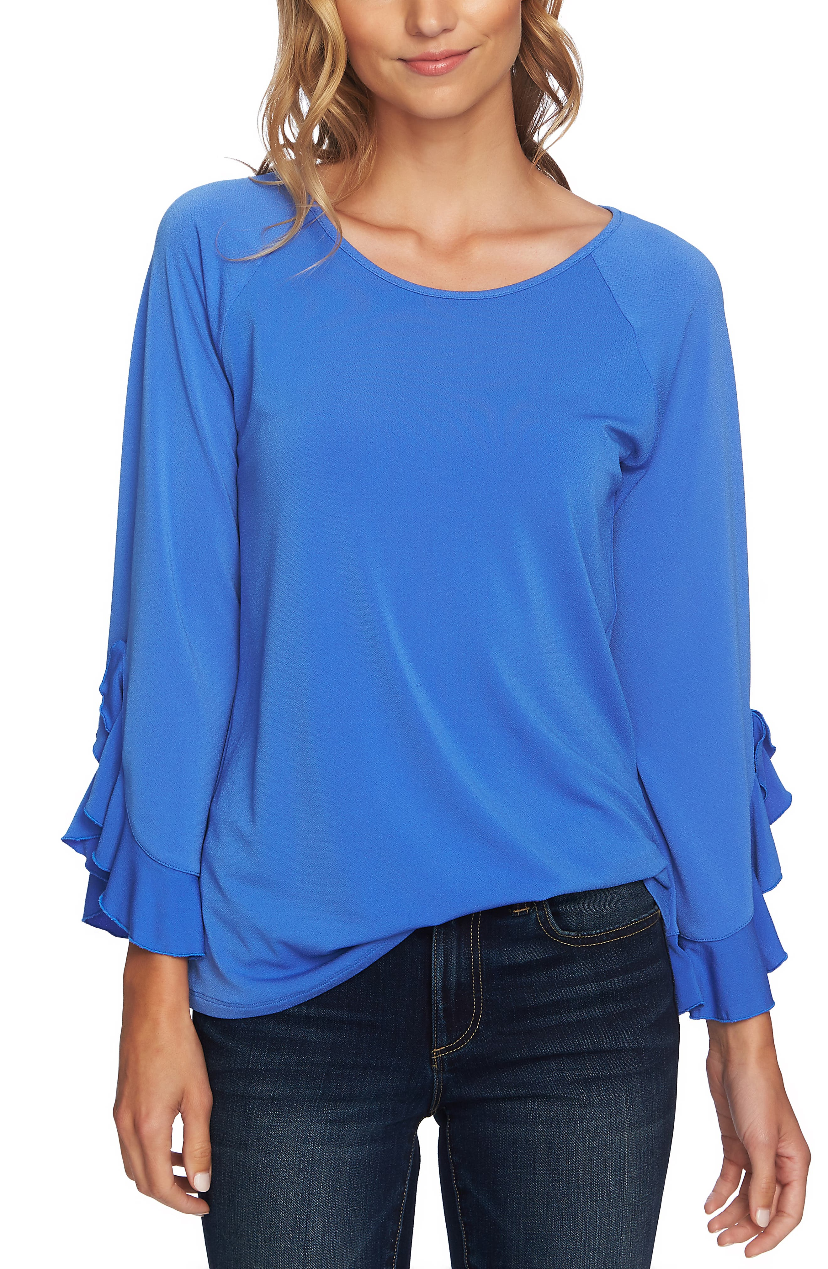 Ruffle Bell Sleeve Top, Main, color, RICH PERI
