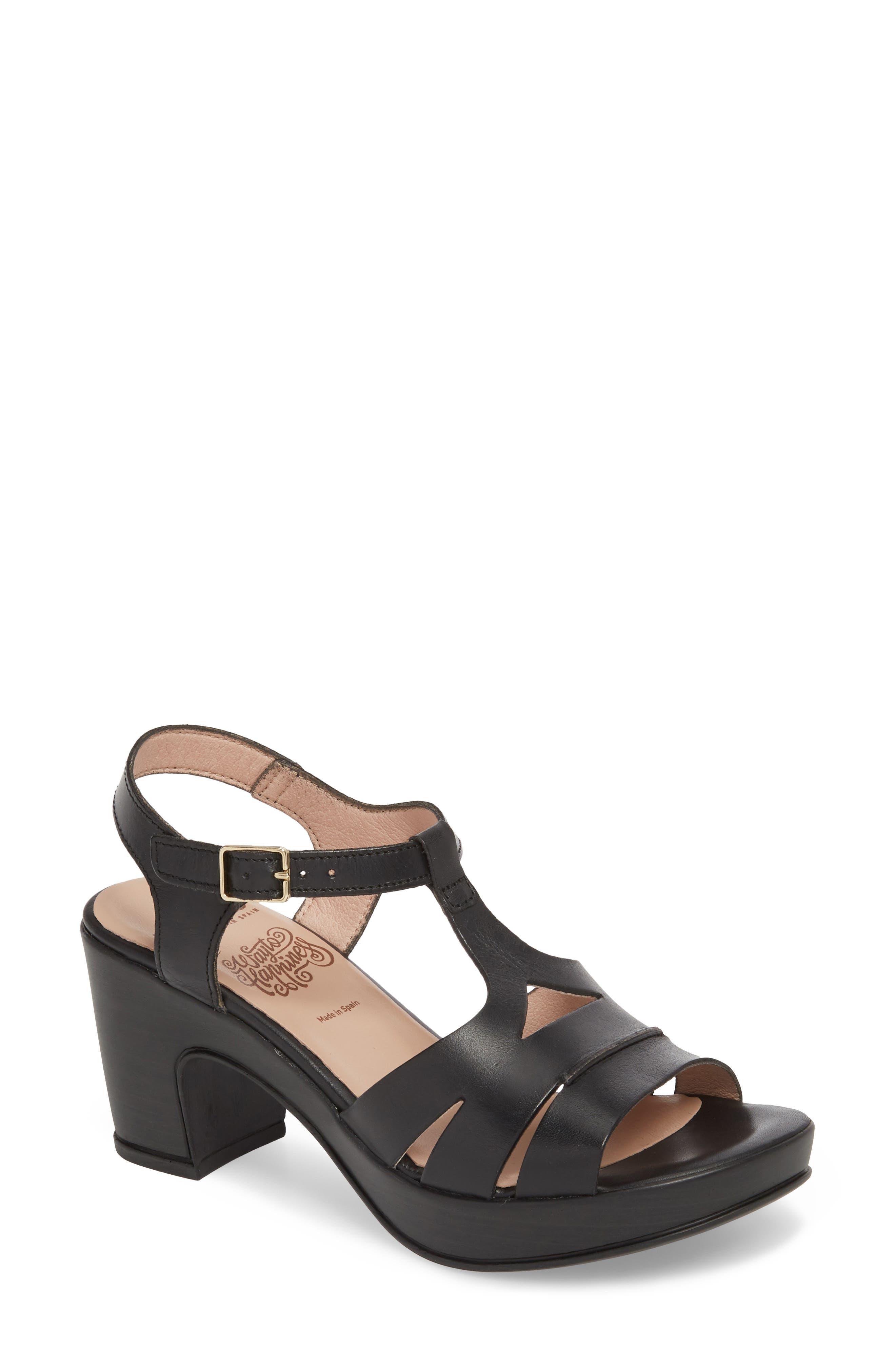 Block Heel Platform Sandal,                         Main,                         color, BLACK LEATHER
