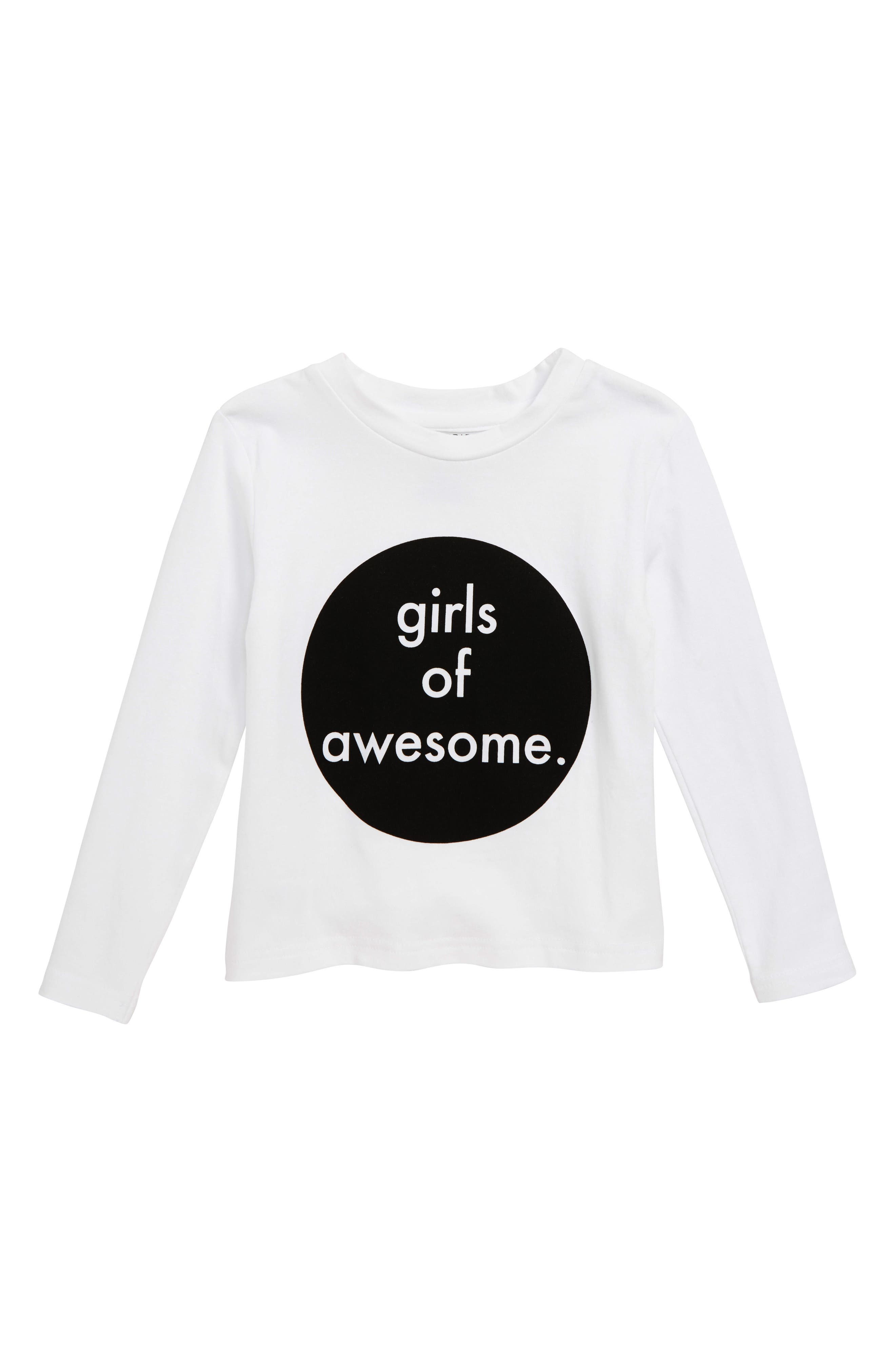 Awesome Girls Tee,                             Main thumbnail 1, color,                             WHITE / BLACK