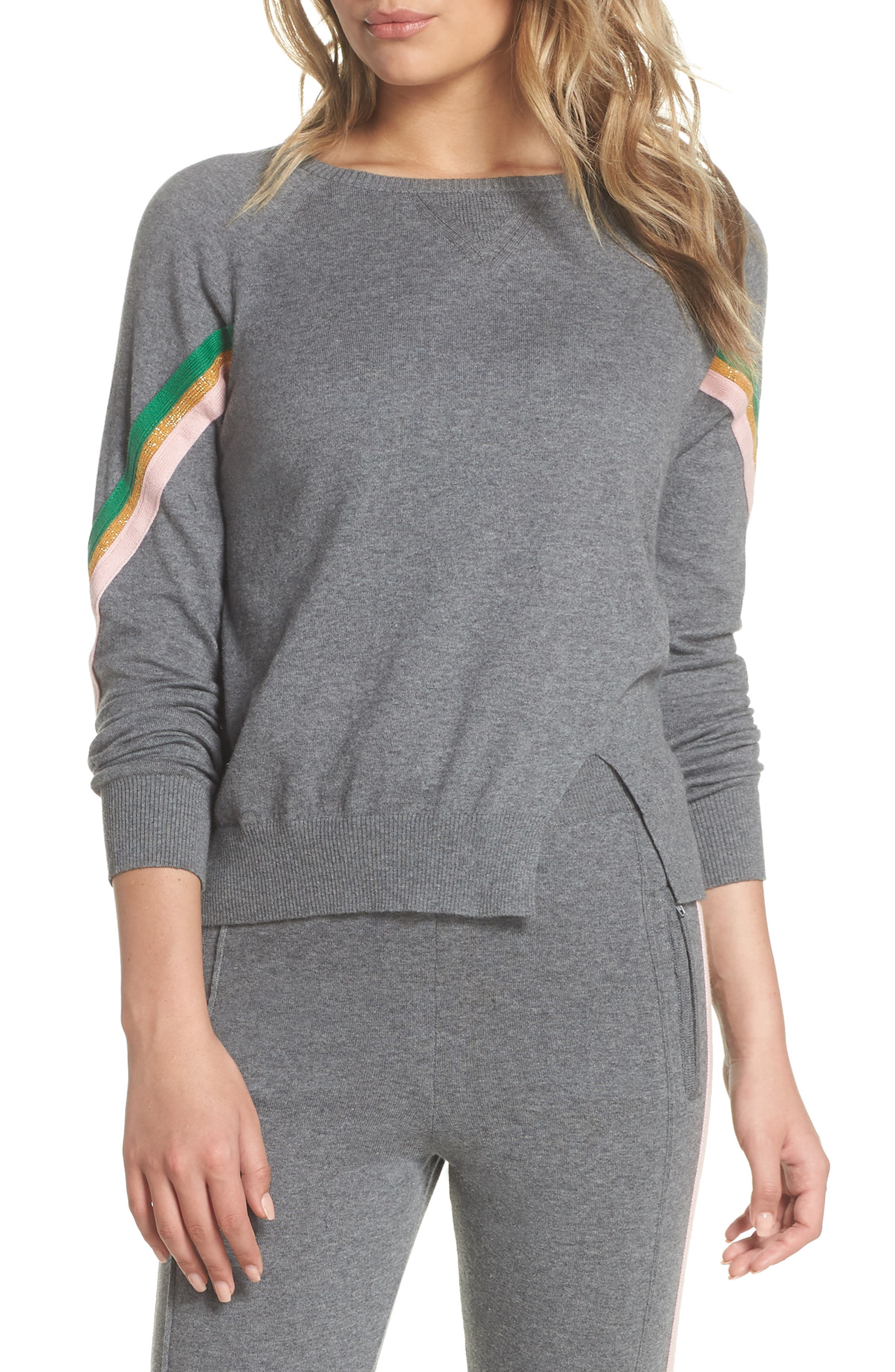 Rainbow Stripe Sweatshirt,                             Main thumbnail 1, color,