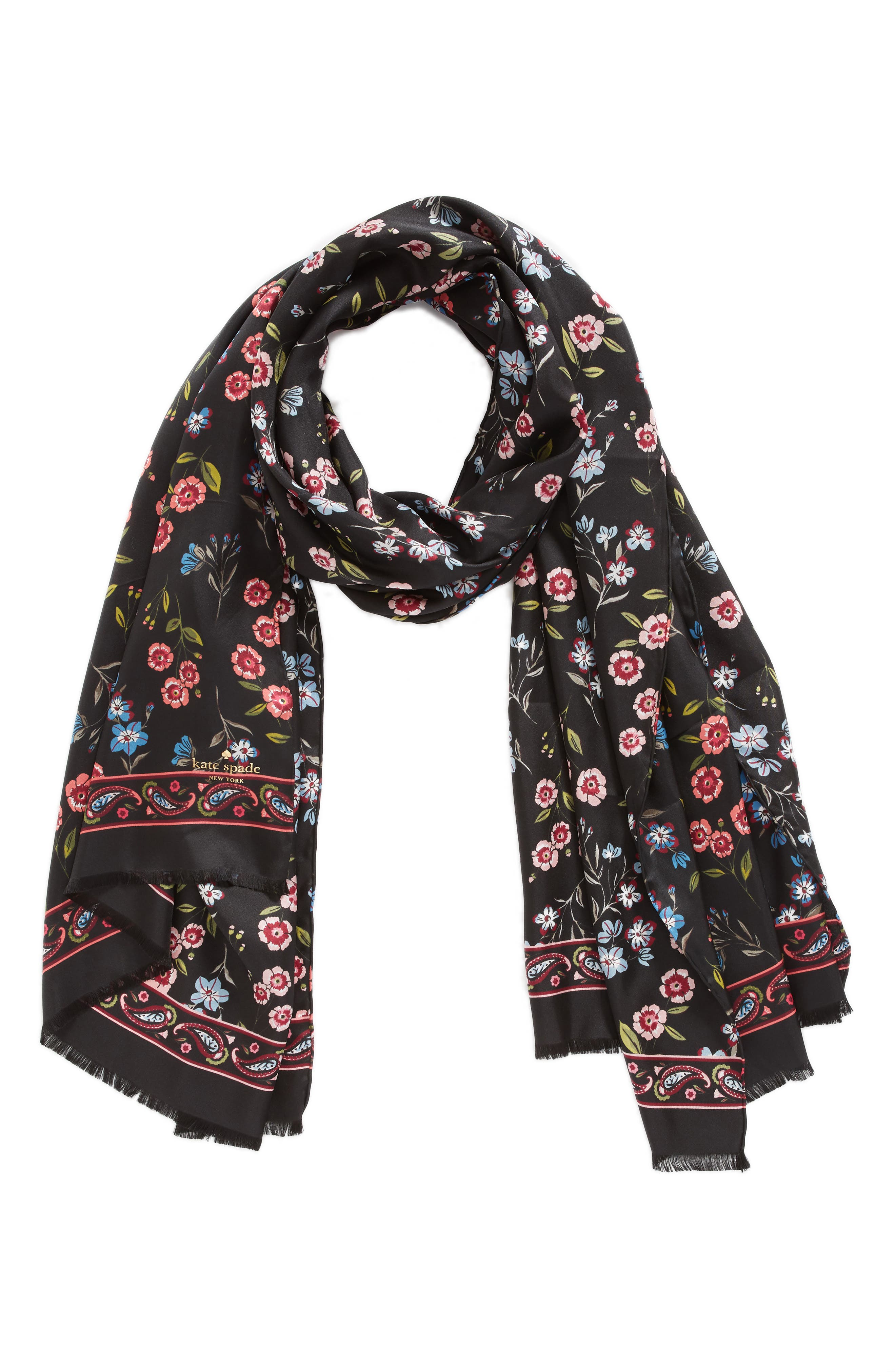 meadow silk oblong scarf,                             Alternate thumbnail 2, color,                             BLACK