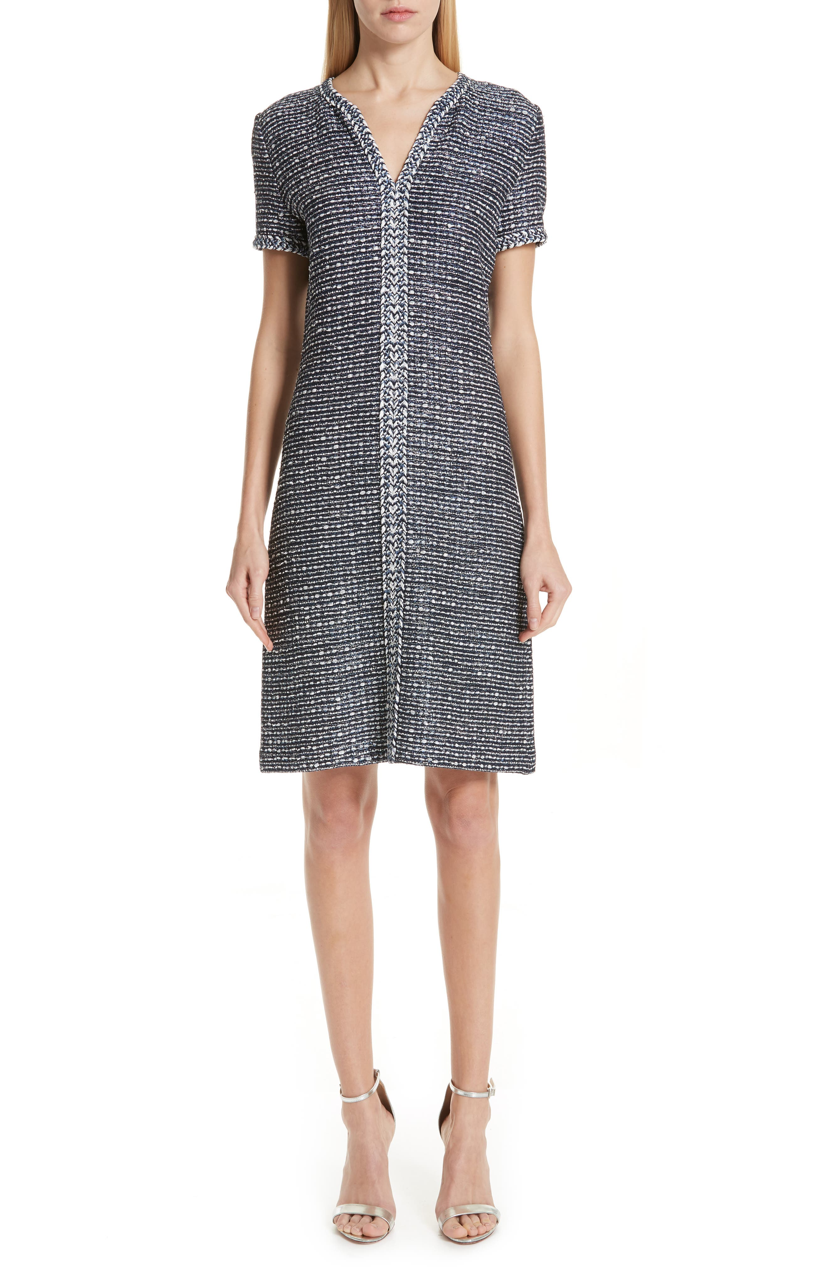 St. John Collection Camille Knit A-Line Dress, Blue