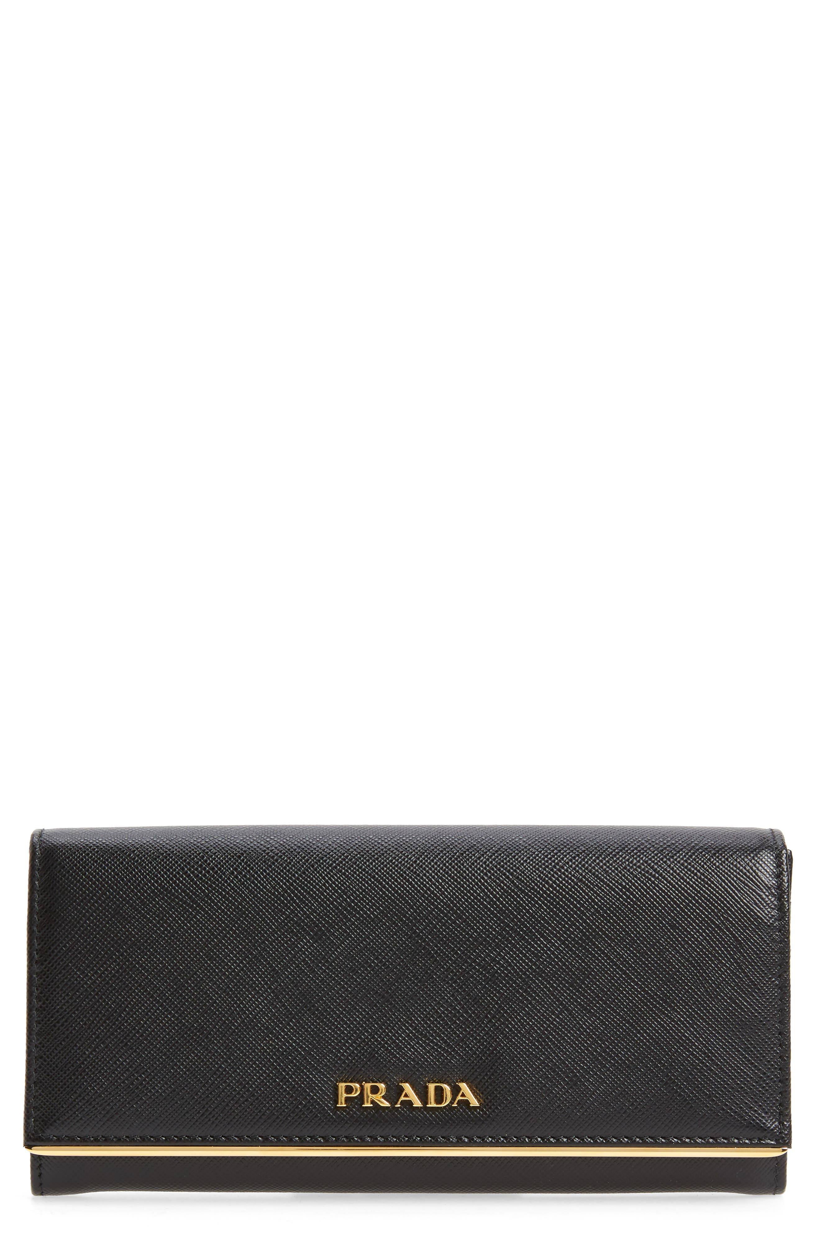 Metal Bar Saffiano Leather Continental Wallet,                         Main,                         color, 001
