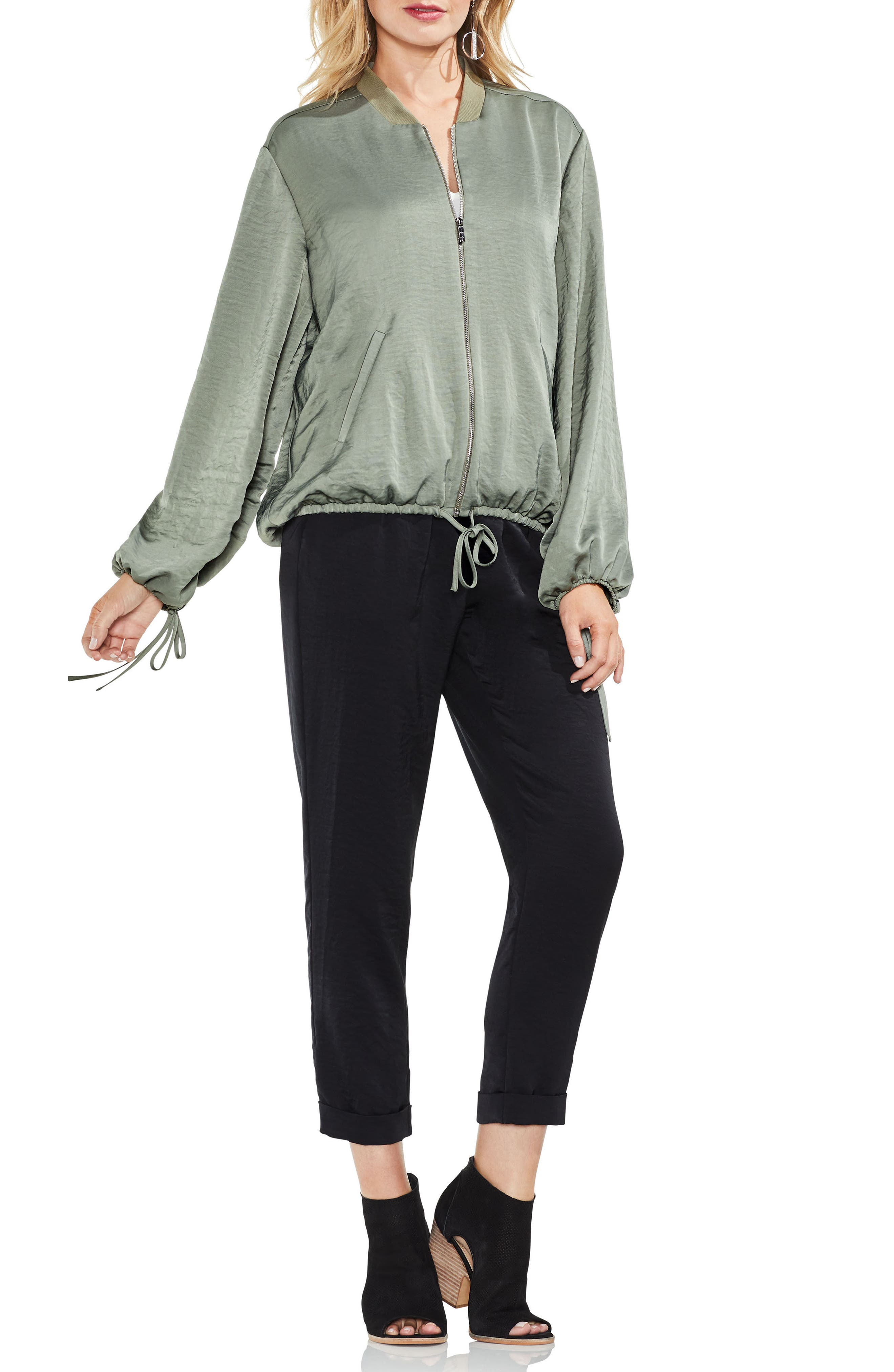 Hammered Satin Drawstring Bomber Jacket,                             Alternate thumbnail 9, color,