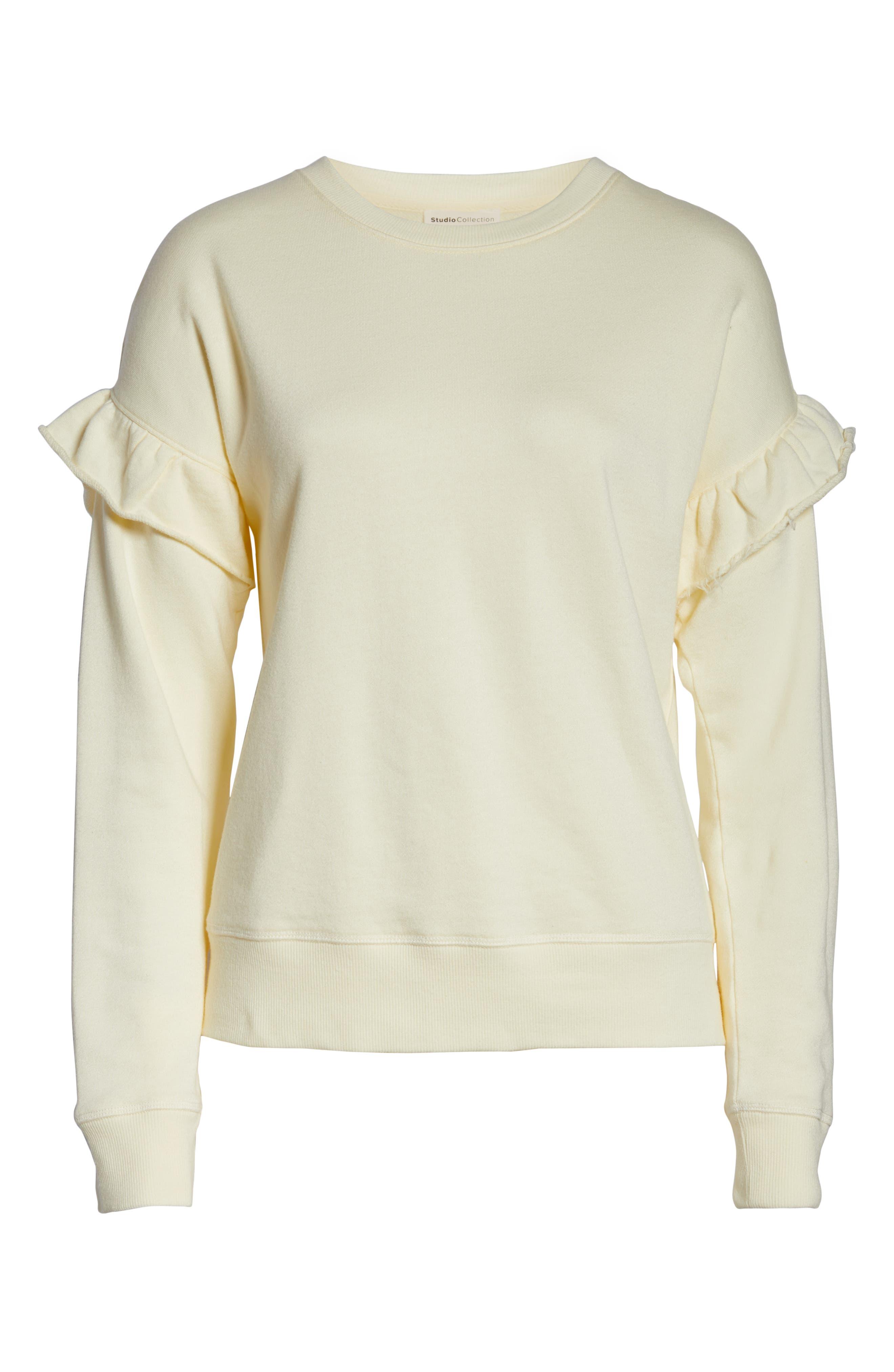 Ruffle Sweatshirt,                             Alternate thumbnail 6, color,                             SUNSHINE